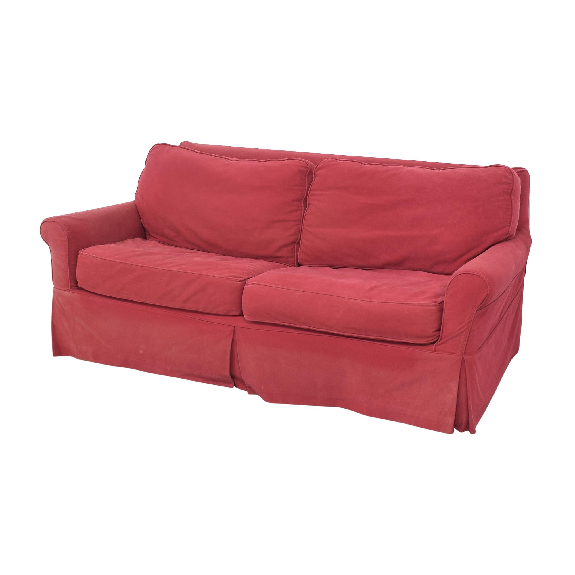 Crate & Barrel Crate & Barrel Roll Arm Slipcovered Sleeper Sofa ct