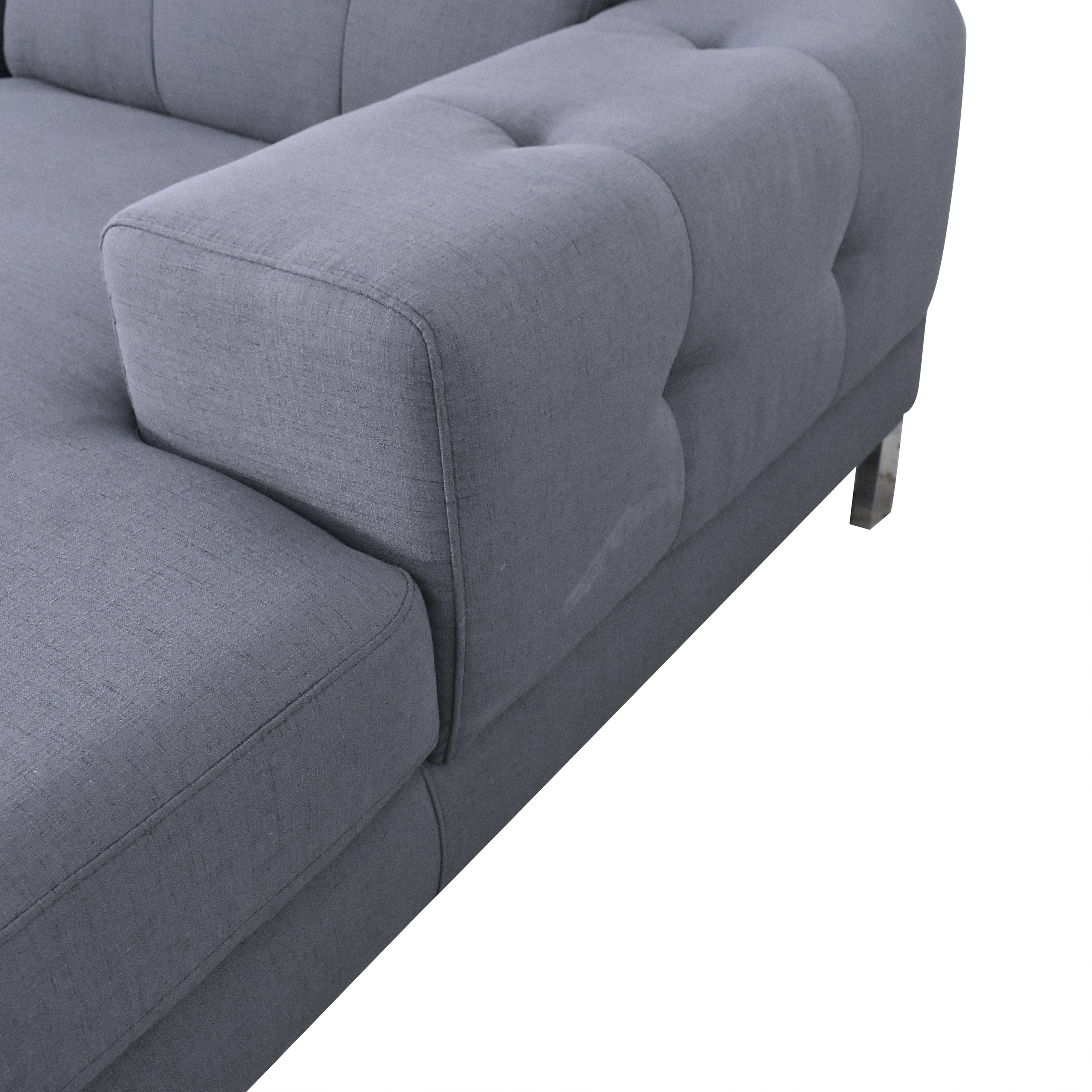 Overstock Overstock Halsted Tufted Chaise Sectional Sofa for sale