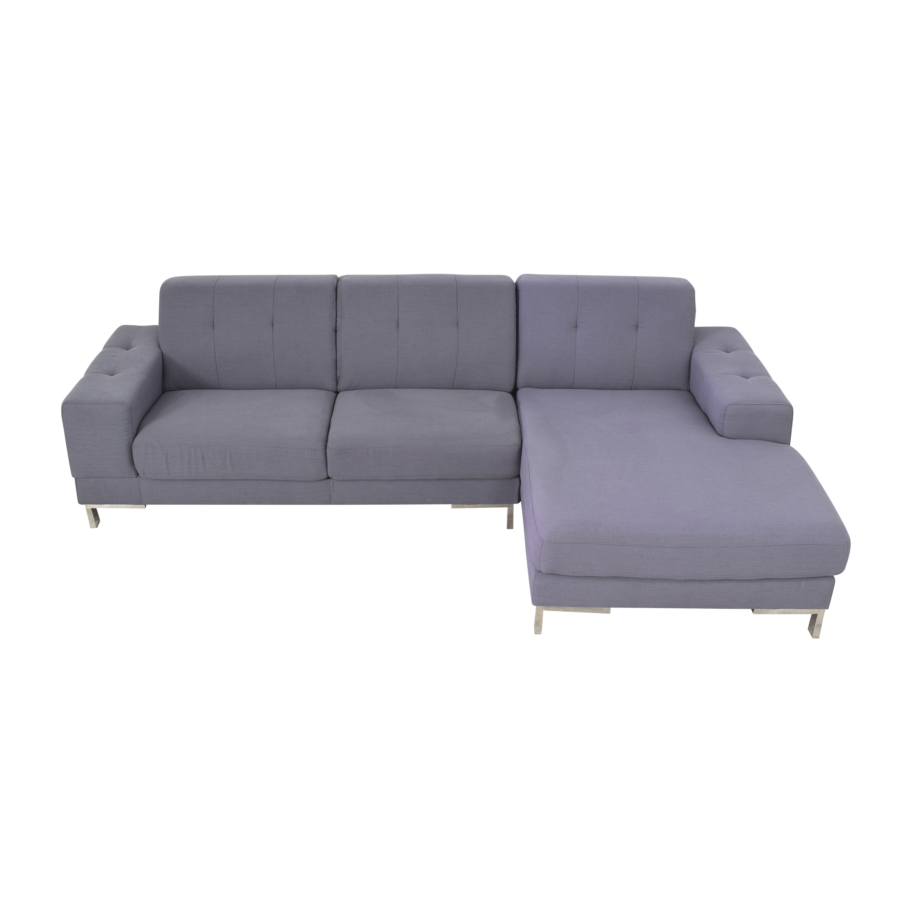 Overstock Overstock Halsted Tufted Chaise Sectional Sofa second hand