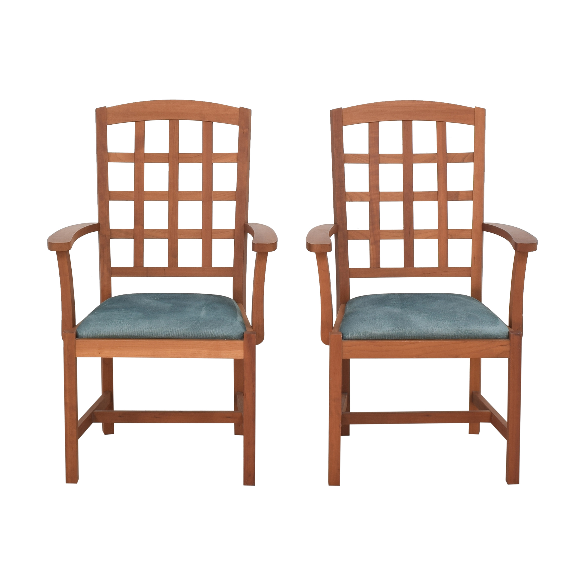 Scott Jordan Furniture Scott Jordan Furniture Grid Back Dining Chairs brown and blue