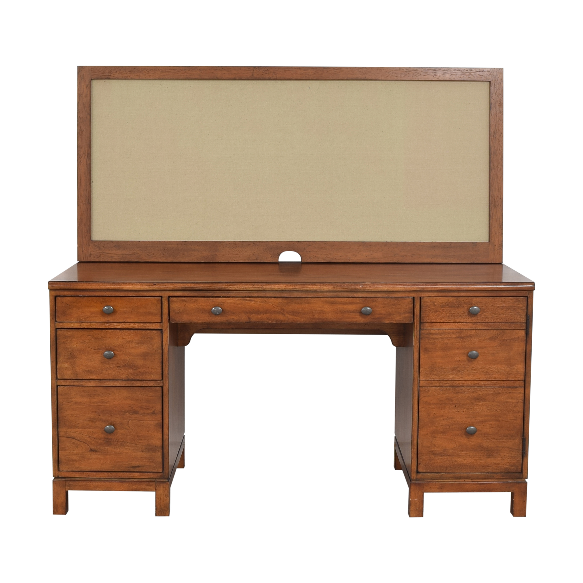 Ethan Allen Hawke Double Pedestal Desk with Bulletin Board / Tables