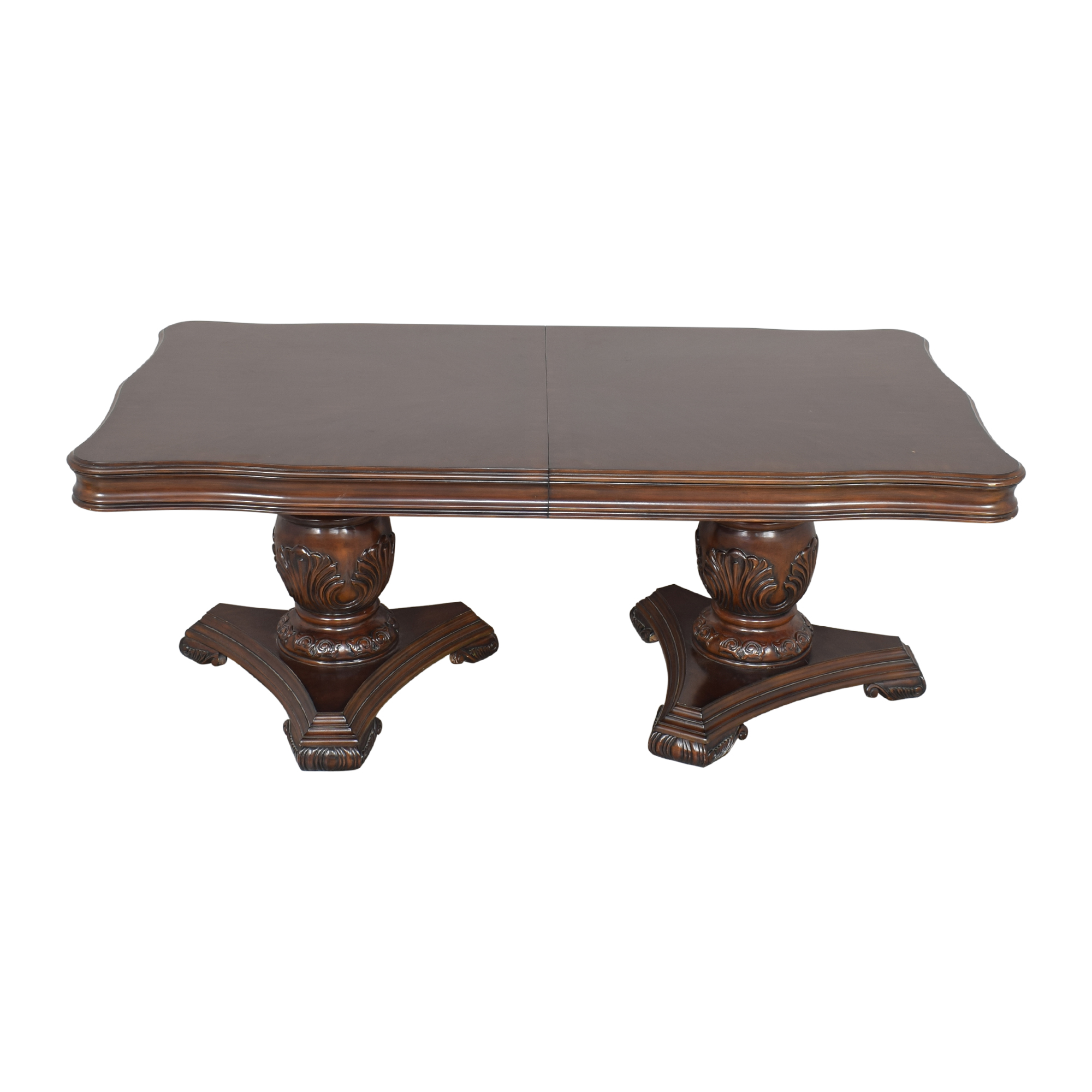 Raymour & Flanigan Raymour & Flanigan Double Pedestal Dining Table dark brown