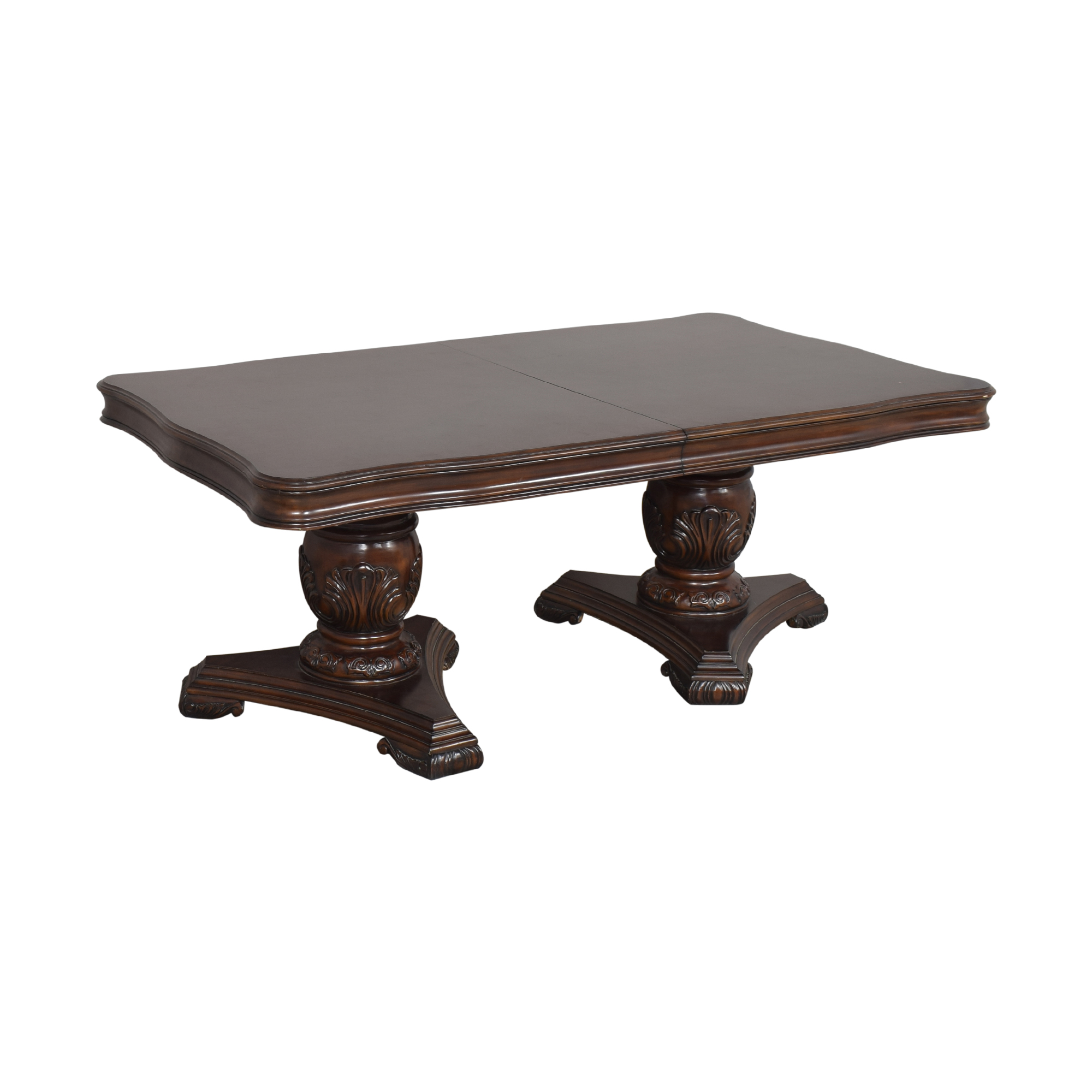 Raymour & Flanigan Raymour & Flanigan Double Pedestal Dining Table dimensions