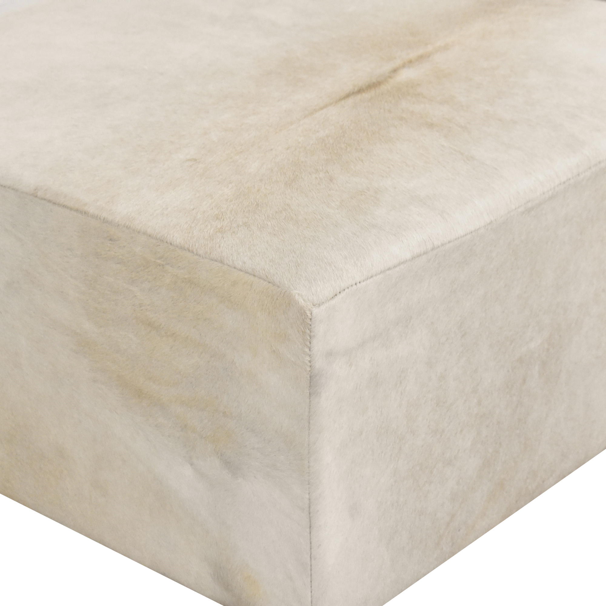 Restoration Hardware Restoration Hardware Cooper Hair-On-Hide Square Ottoman beige and brown