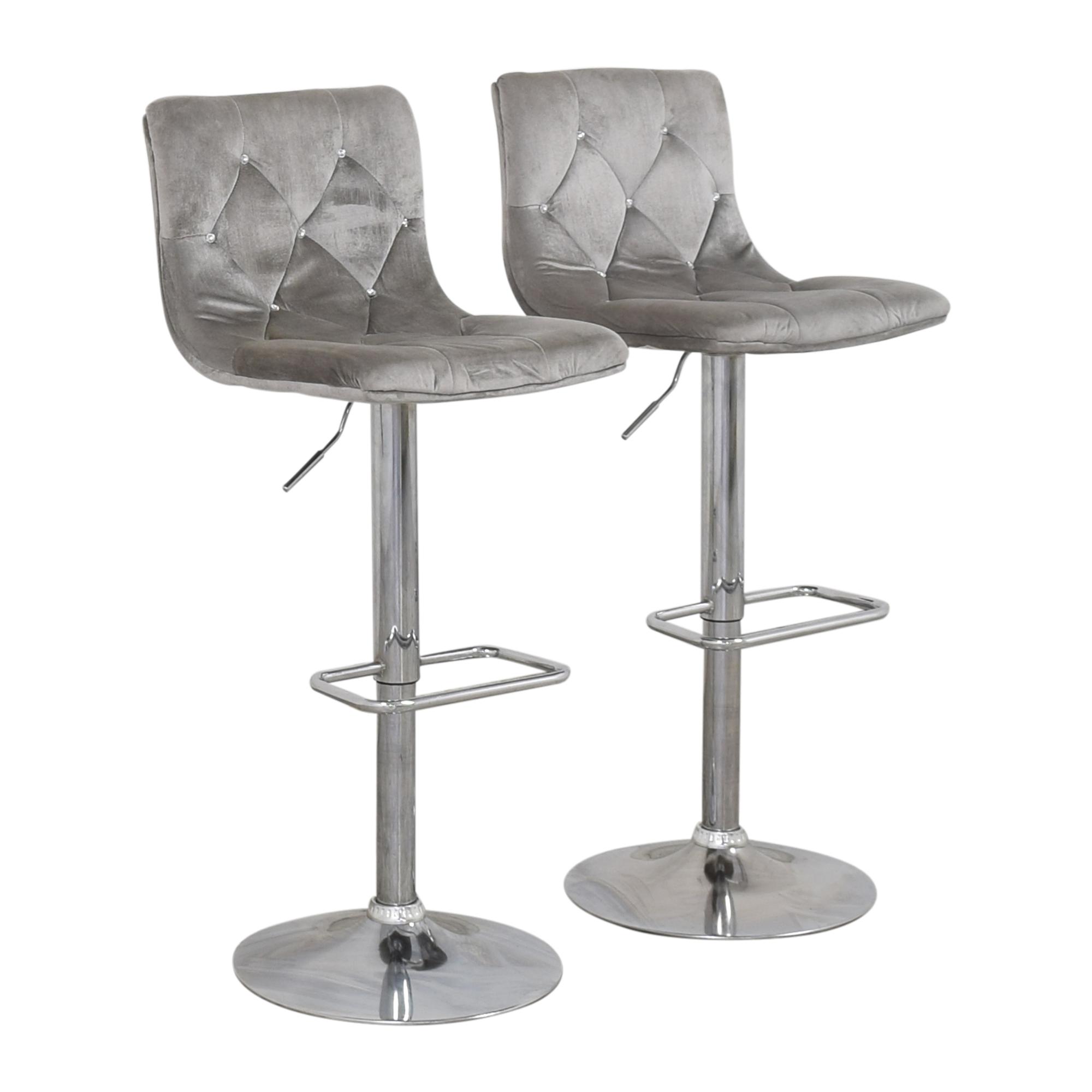Diamond-Tufted Swivel Bar Stools Chairs