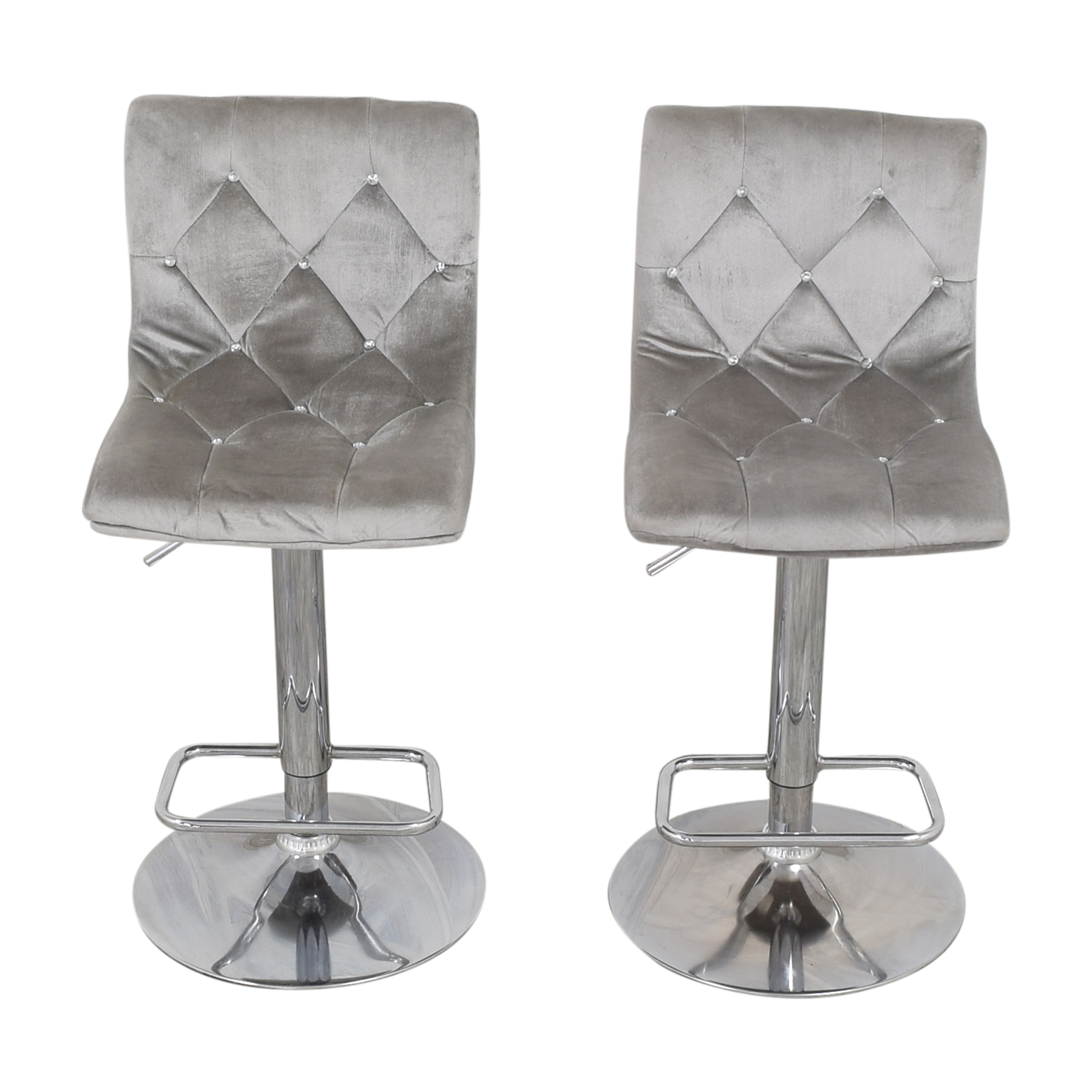 Diamond-Tufted Swivel Bar Stools / Chairs