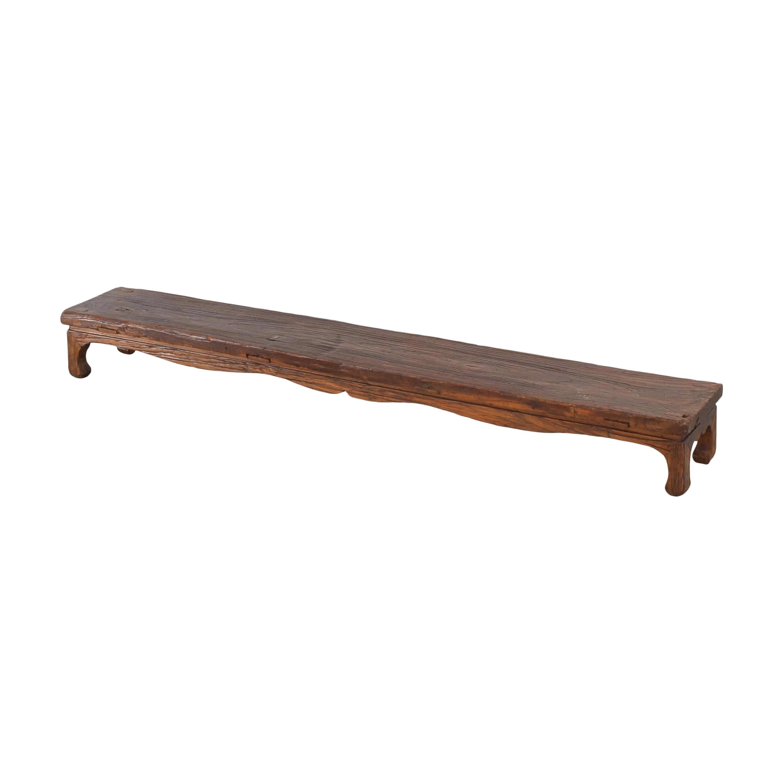 Long Low Rustic Bench dark brown