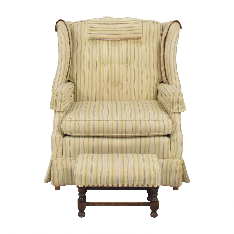 Skirted Wingback Chair with Ottoman nj