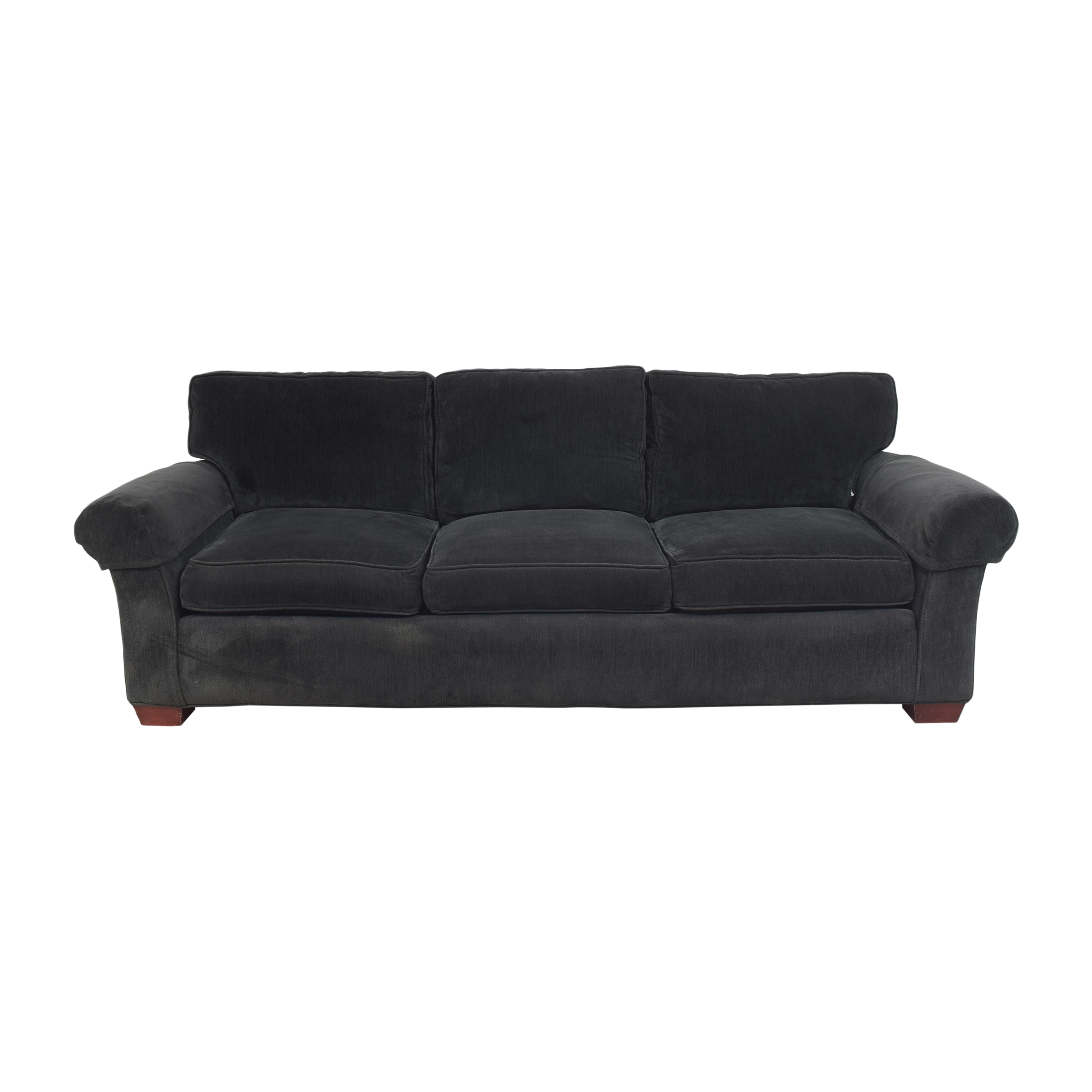 Crate & Barrel Three Cushion Roll Arm Sofa sale