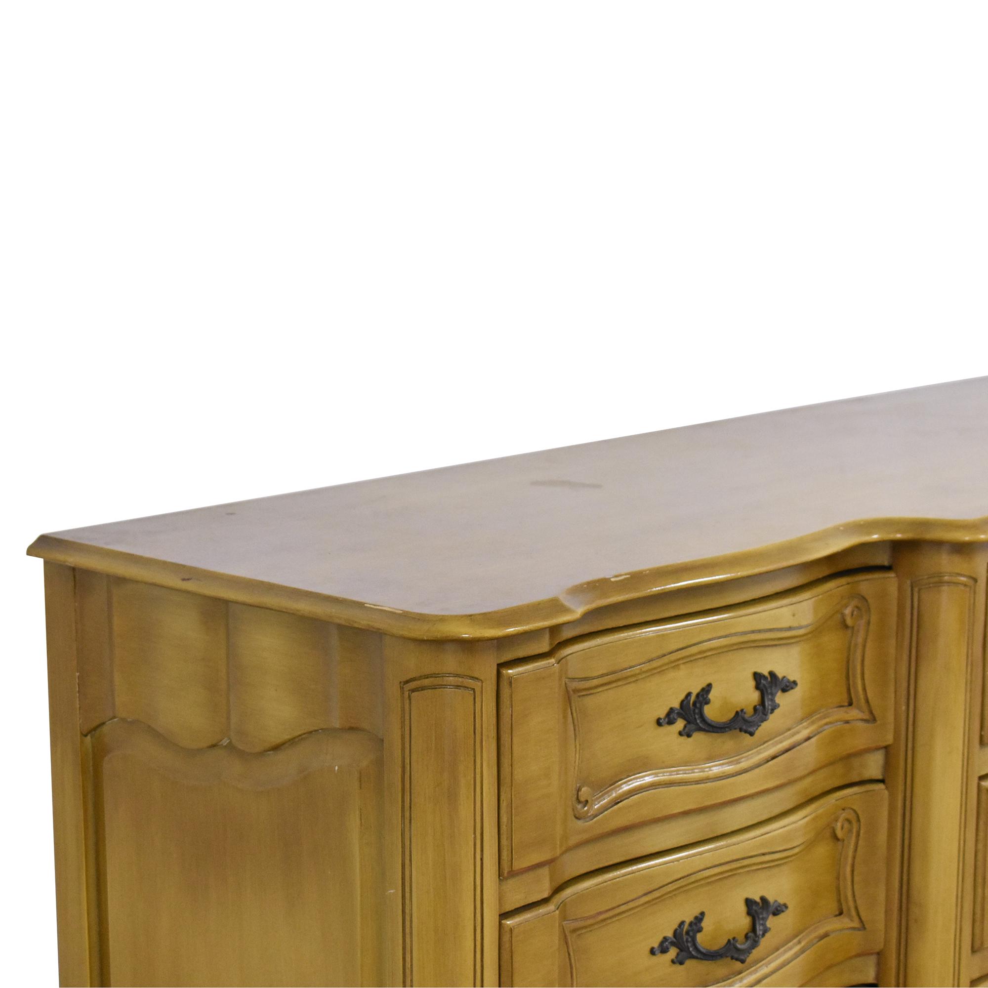 Vintage French Provincial Triple Dresser brown