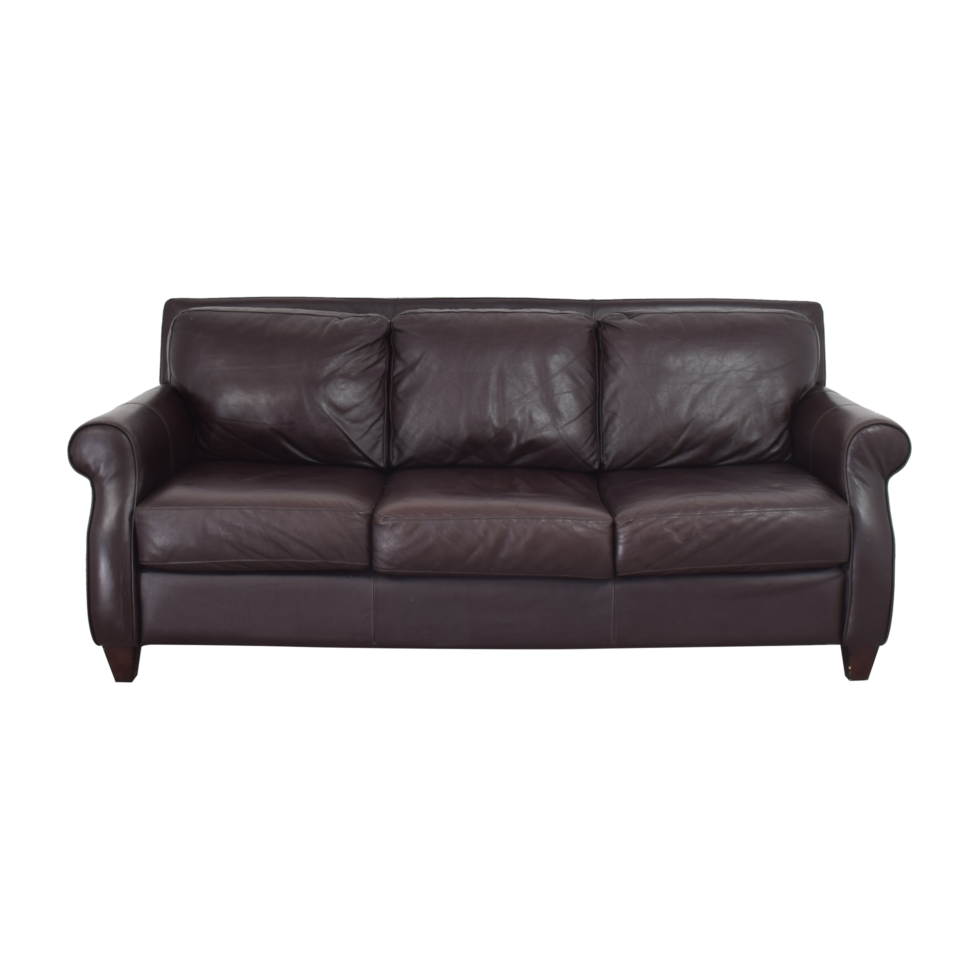Raymour & Flanigan Raymour & Flanigan Three Cushion Sofa dark brown