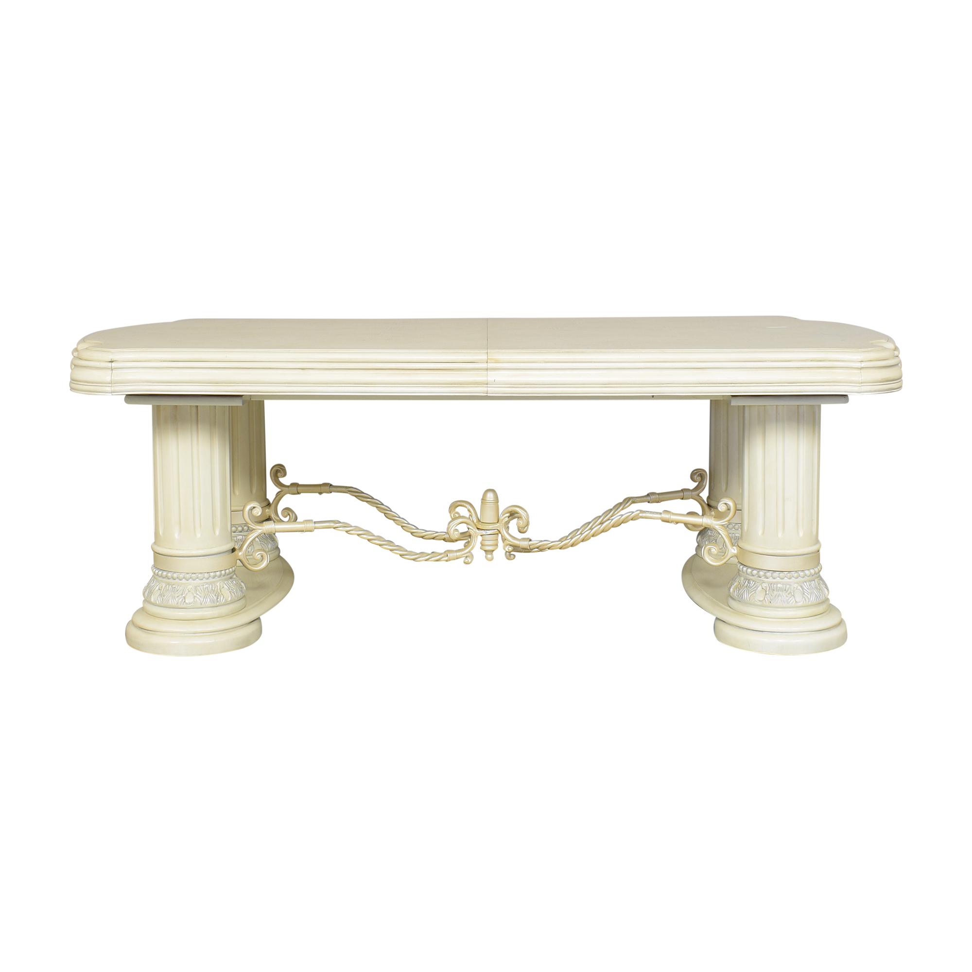 buy AICO Furniture Monte Carlo Snow Rectangular Dining Table AICO Dinner Tables