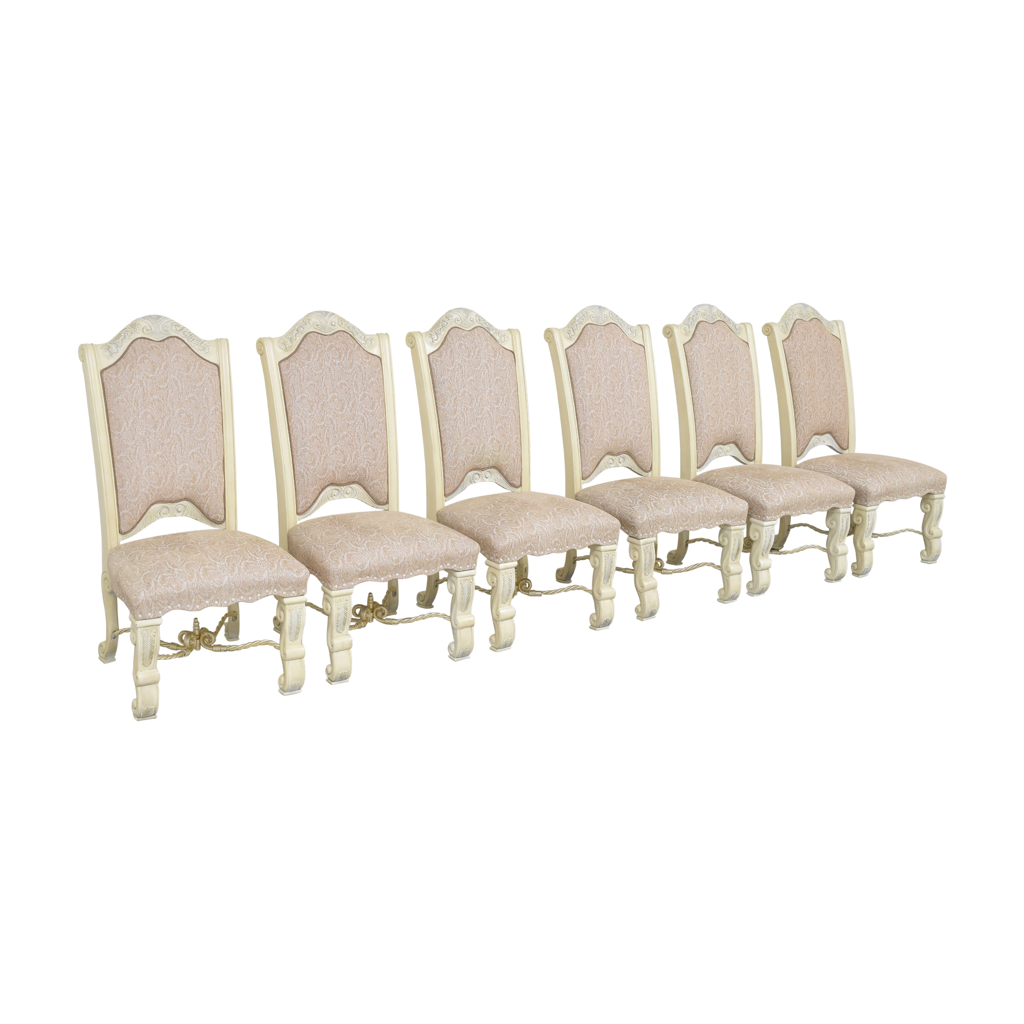 AICO AICO Furniture Monte Carlo Snow Dining Side Chairs beige and cream