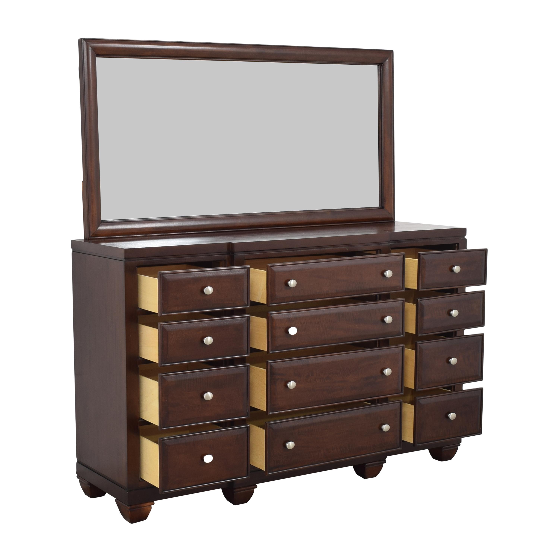 Raymour & Flanigan Raymour & Flanigan Twelve Drawer Dresser with Mirror ma