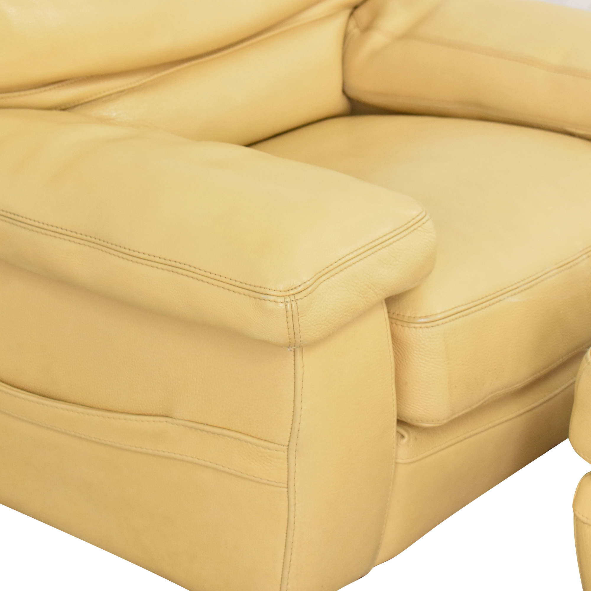 Roche Bobois Roche Bobois Accent Armchair with Ottoman yellow