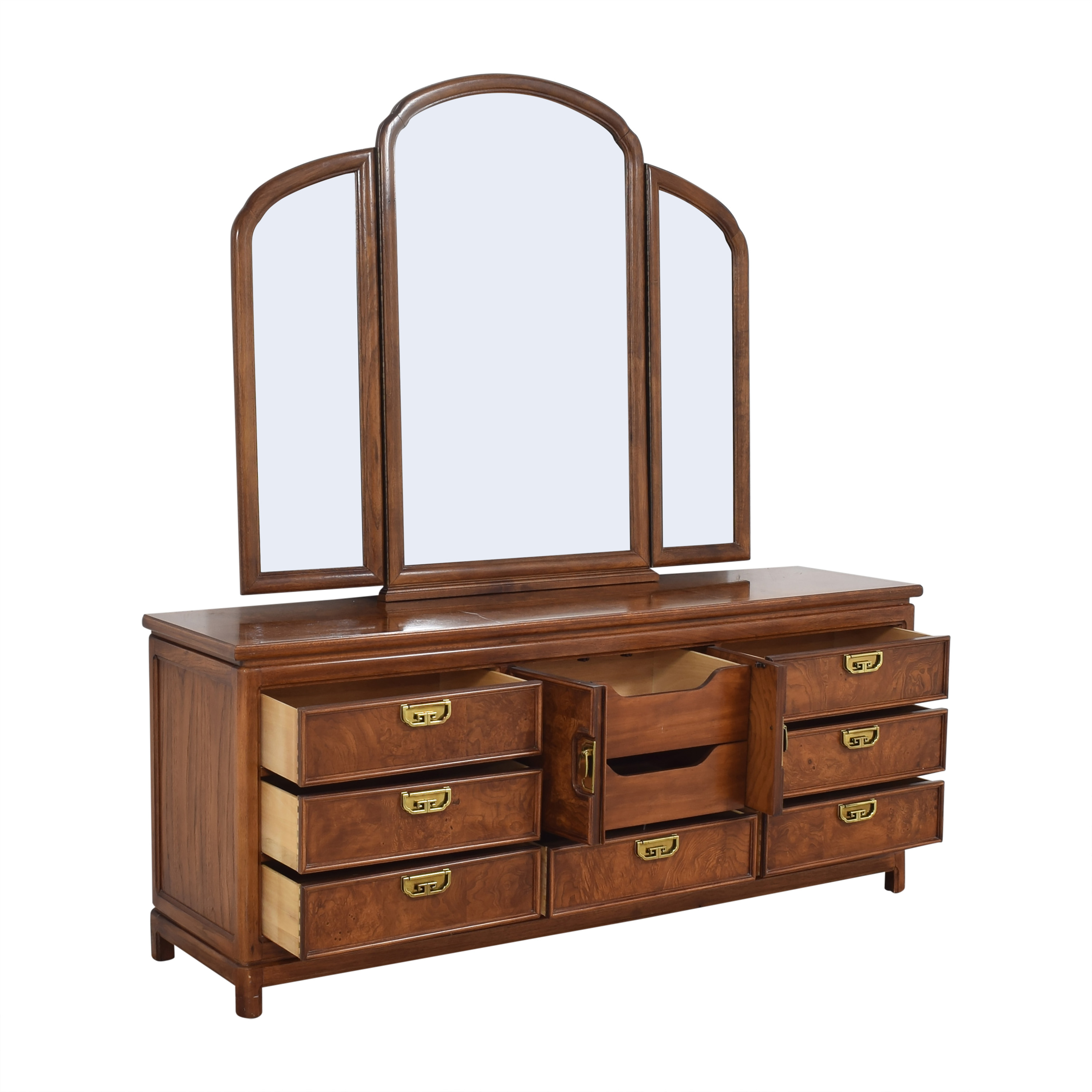 Thomasville Thomasville Mystique Campaign Triple Dresser with Mirror Storage