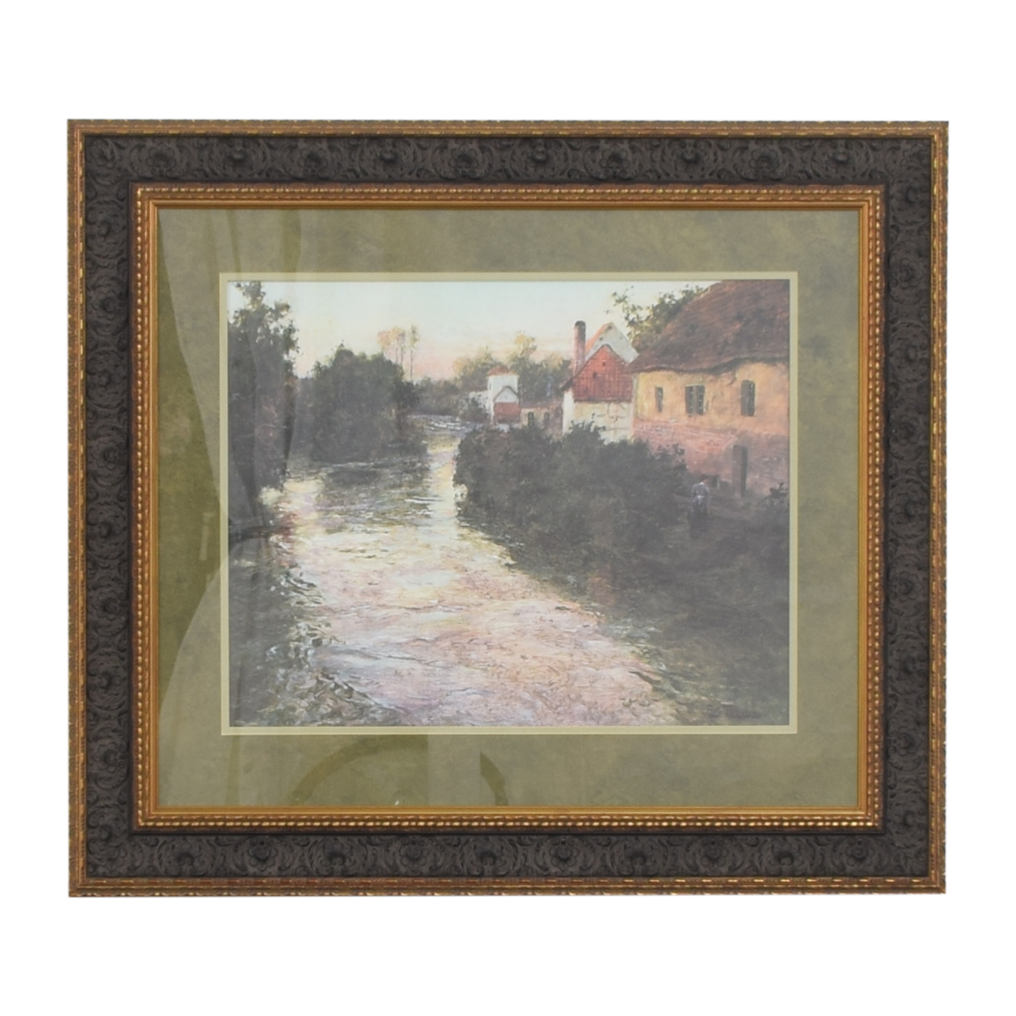 Fritz Thaulow Village on the Bank of a Stream Framed Wall Art Wall Art