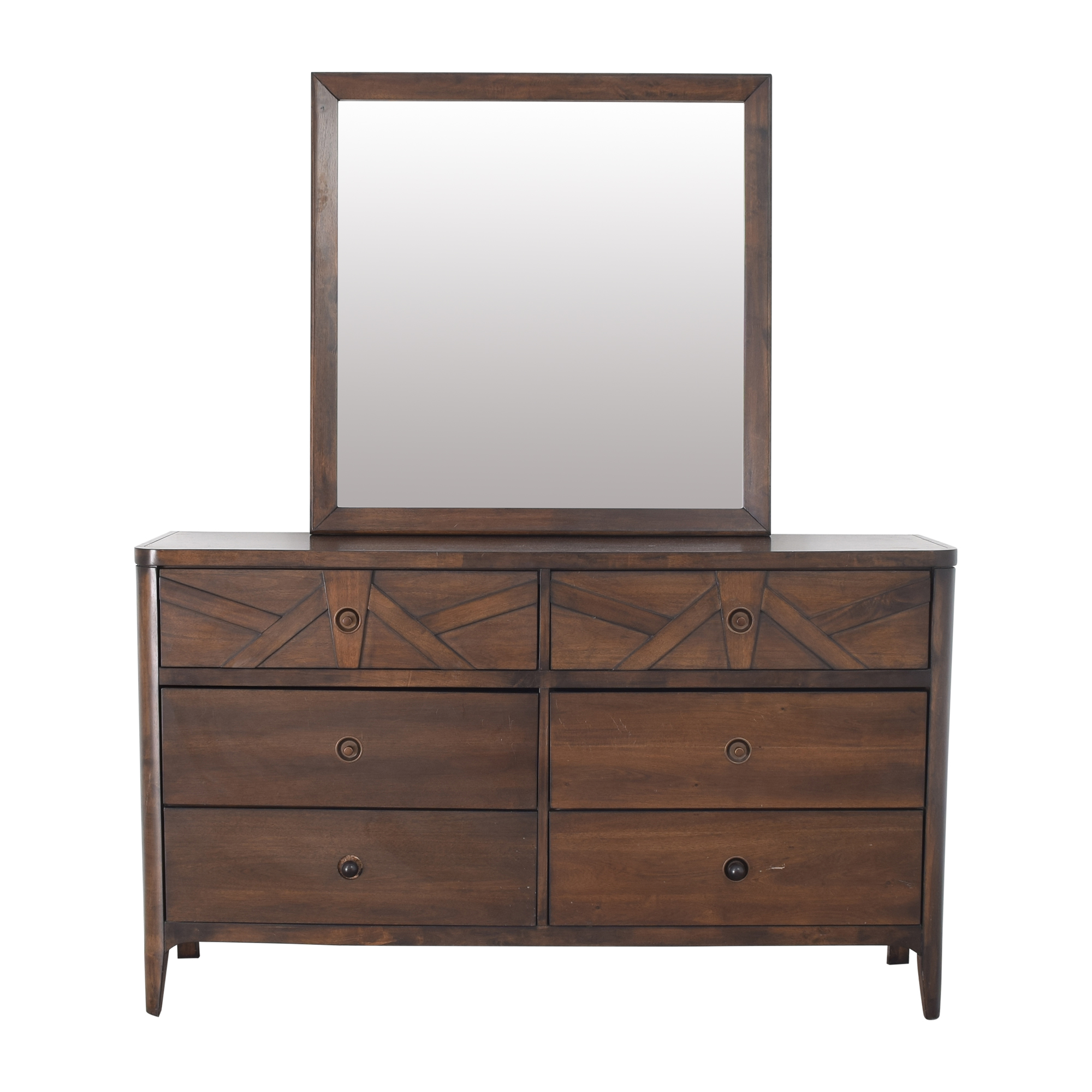 Raymour & Flanigan Raymour & Flanigan Double Dresser with Mirror brown