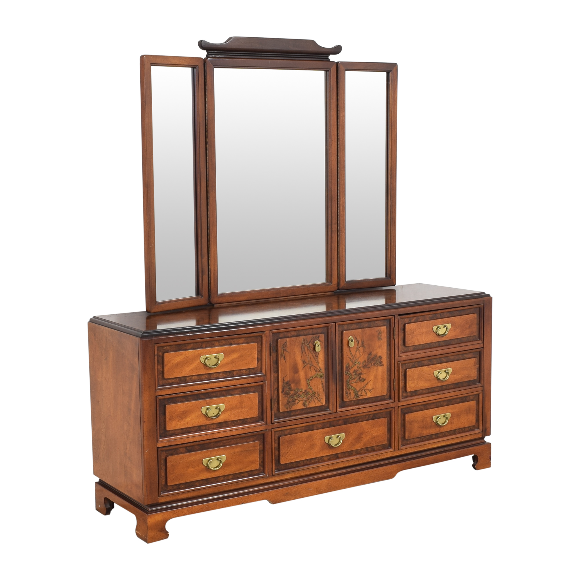 Bassett Furniture Chinoiserie Dresser with Trifold Mirror sale