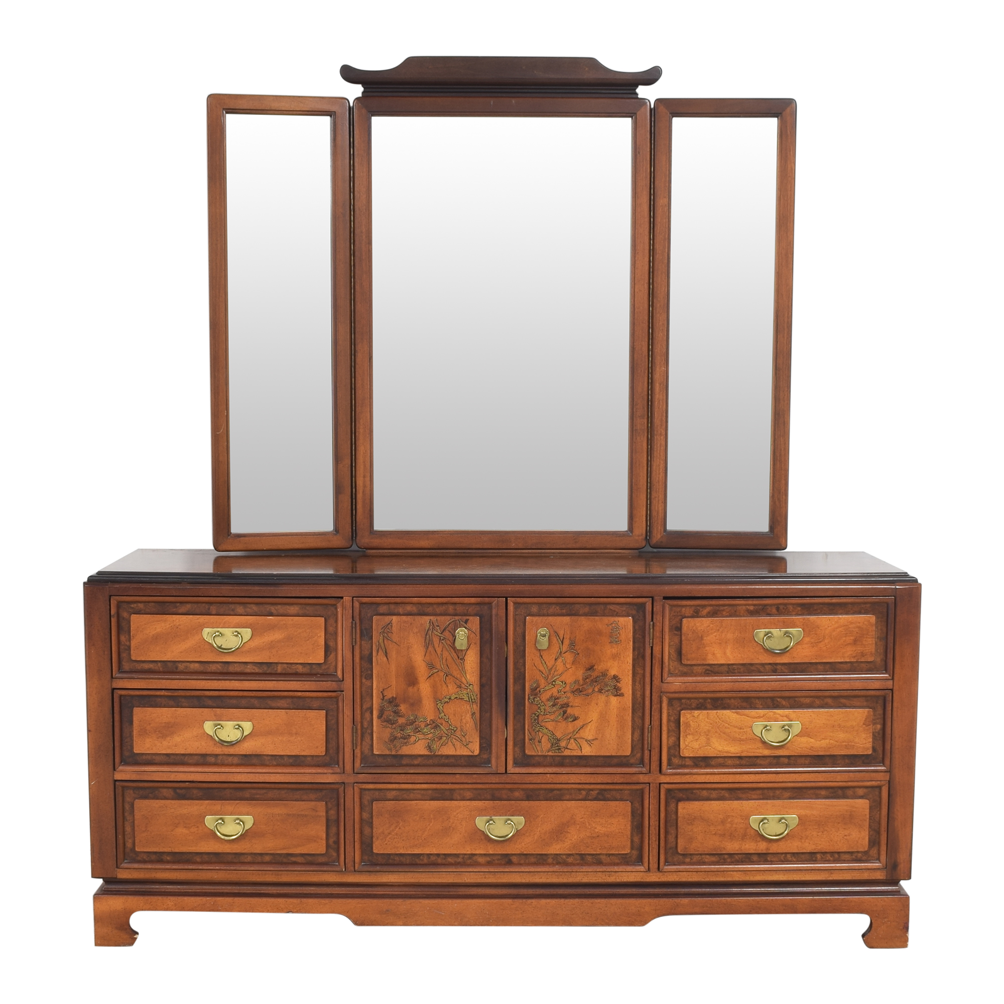 buy Bassett Furniture Chinoiserie Dresser with Trifold Mirror Bassett Furniture Dressers