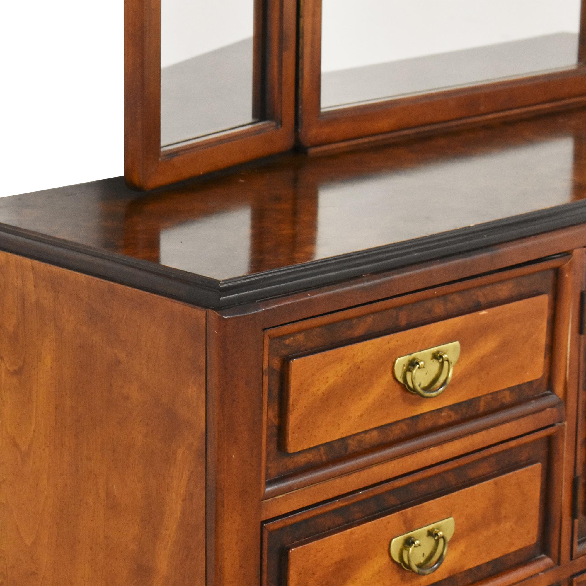 shop Bassett Furniture Chinoiserie Dresser with Trifold Mirror Bassett Furniture Storage