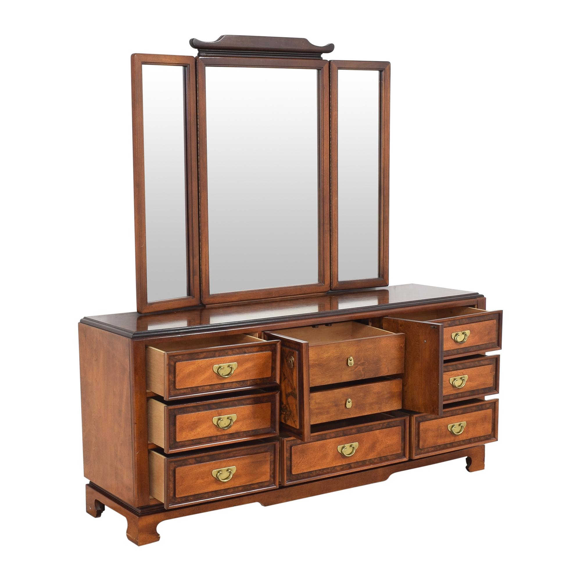 Bassett Furniture Bassett Furniture Chinoiserie Dresser with Trifold Mirror brown