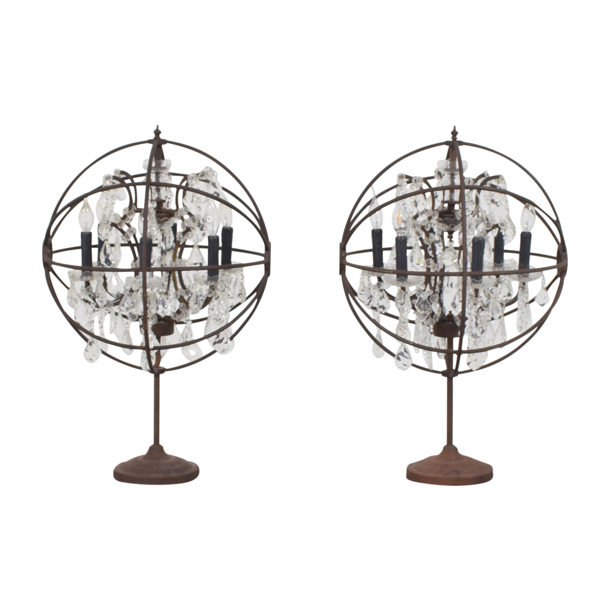 Restoration Hardware Restoration Hardware Foucault's Orb Crystal Table Lamps for sale