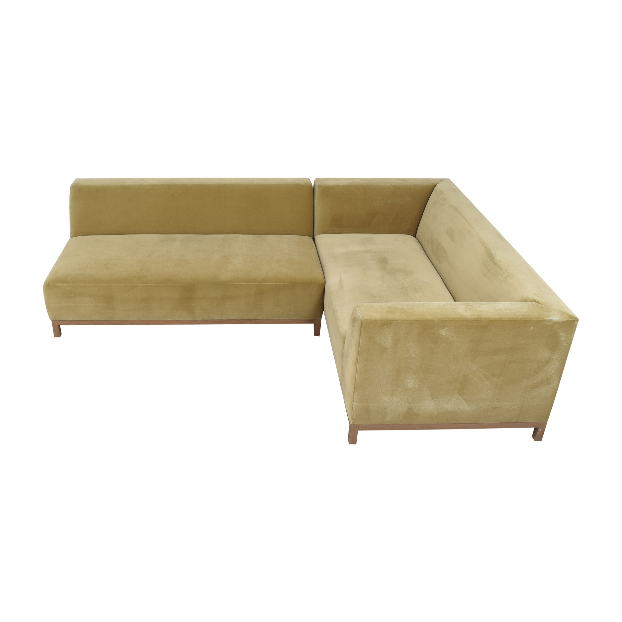 ROOM ROOM Bruno Custom Reversible Sectional Sofa gold and brown