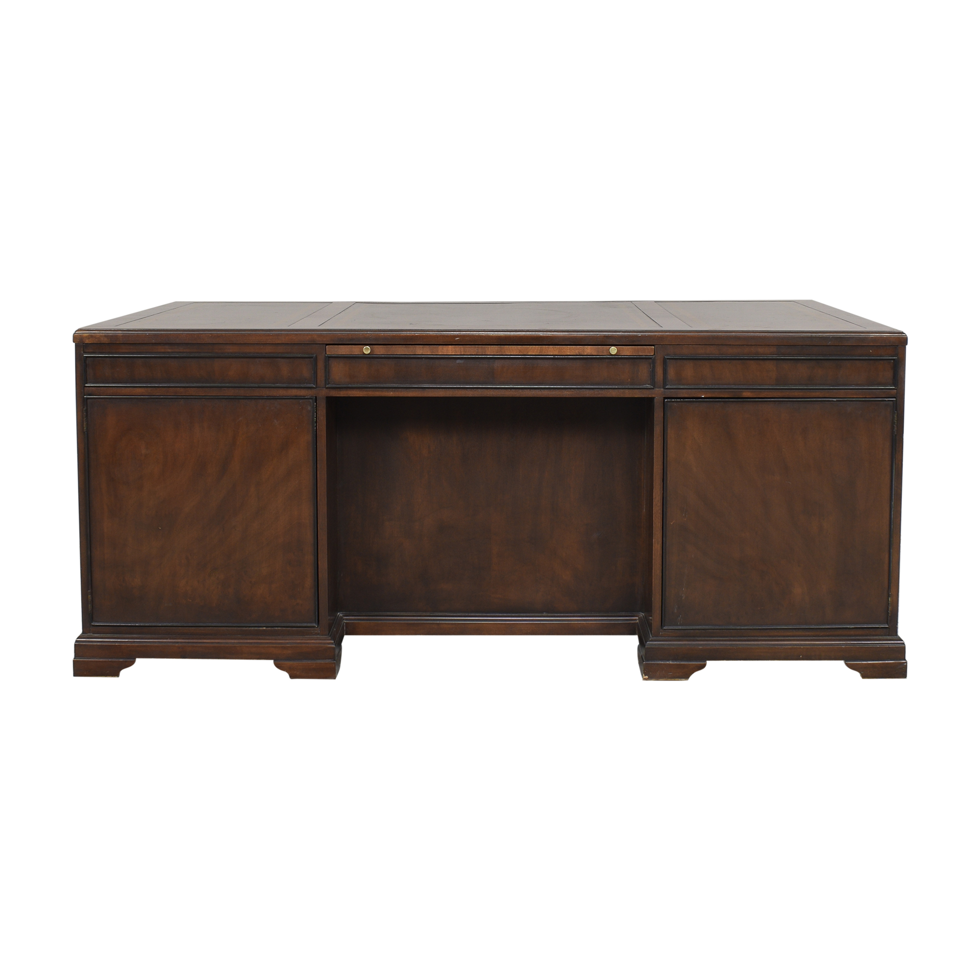 Executive Desk with Drawers and Cabinets brown