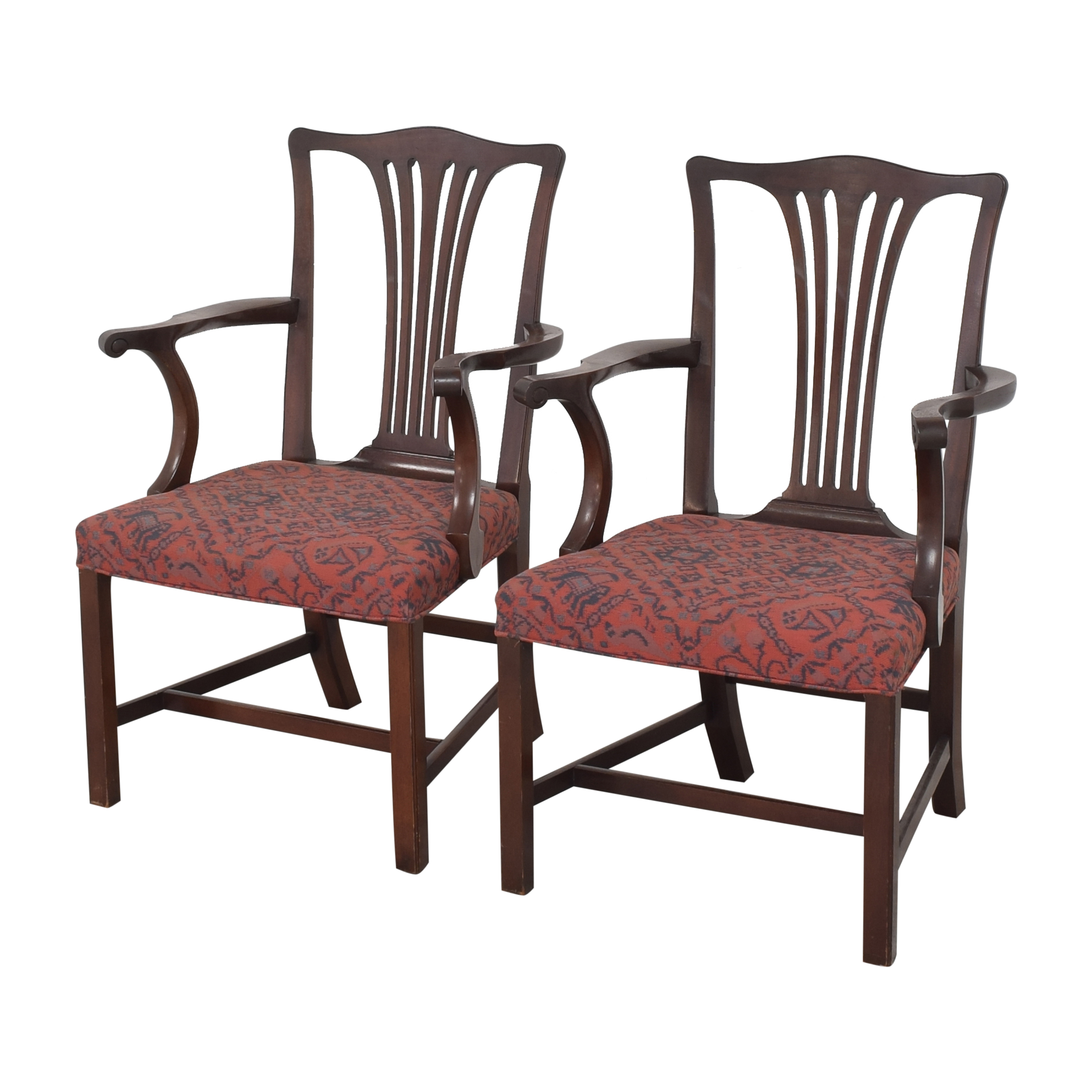 Wood & Hogan Wood & Hogan Country Chippendale Dining Arm Chairs red and dark brown