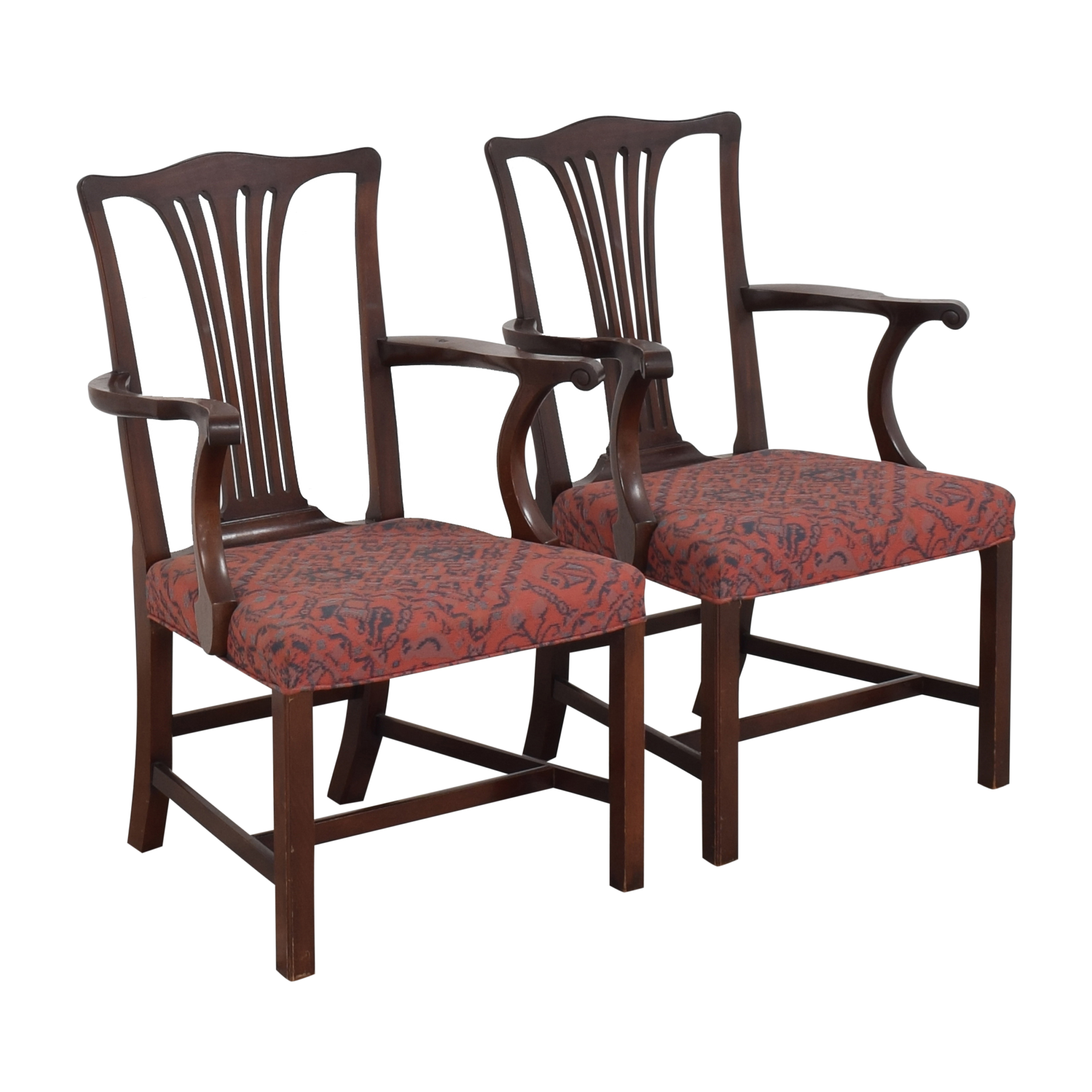 Wood & Hogan Country Chippendale Dining Arm Chairs sale