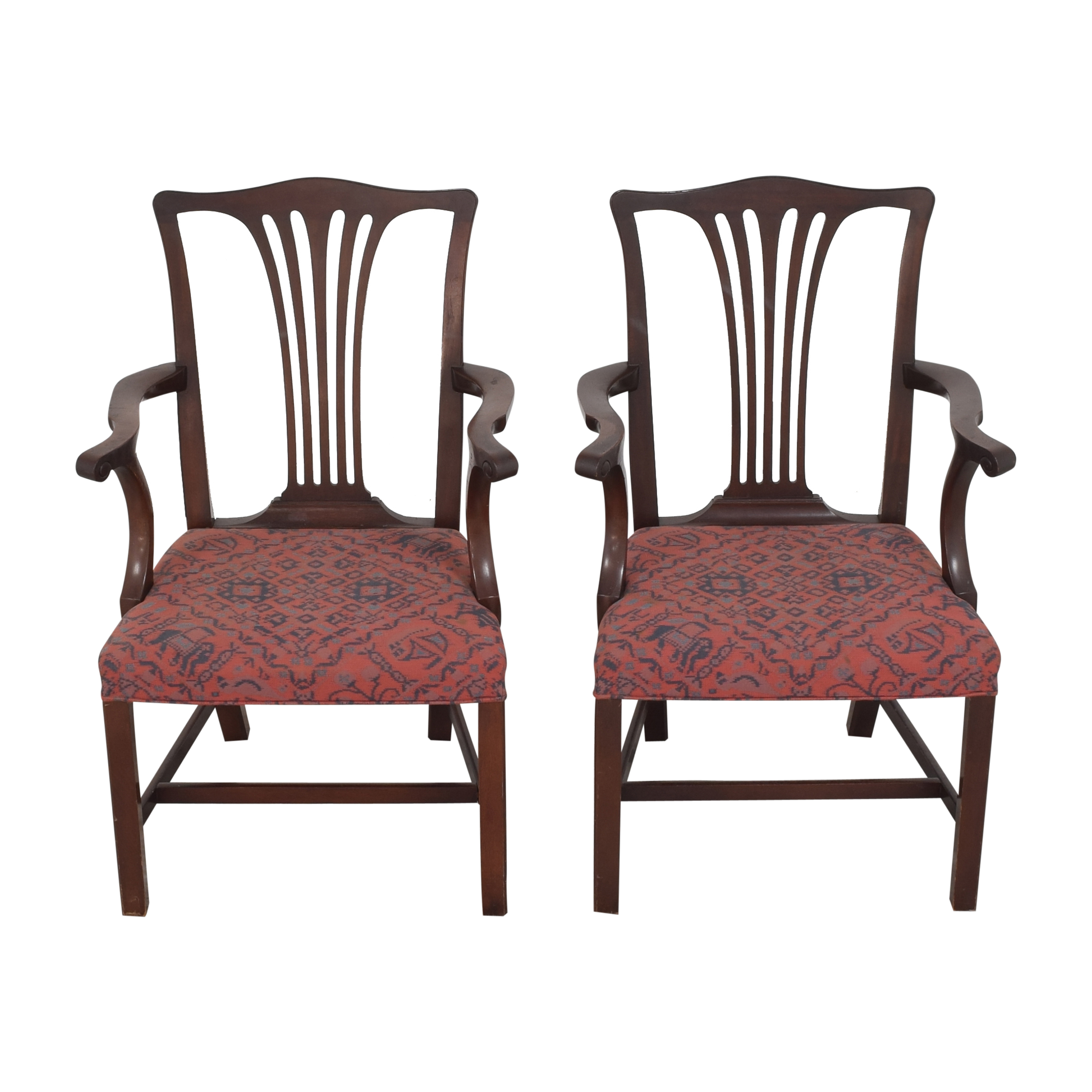Wood & Hogan Wood & Hogan Country Chippendale Dining Arm Chairs ct