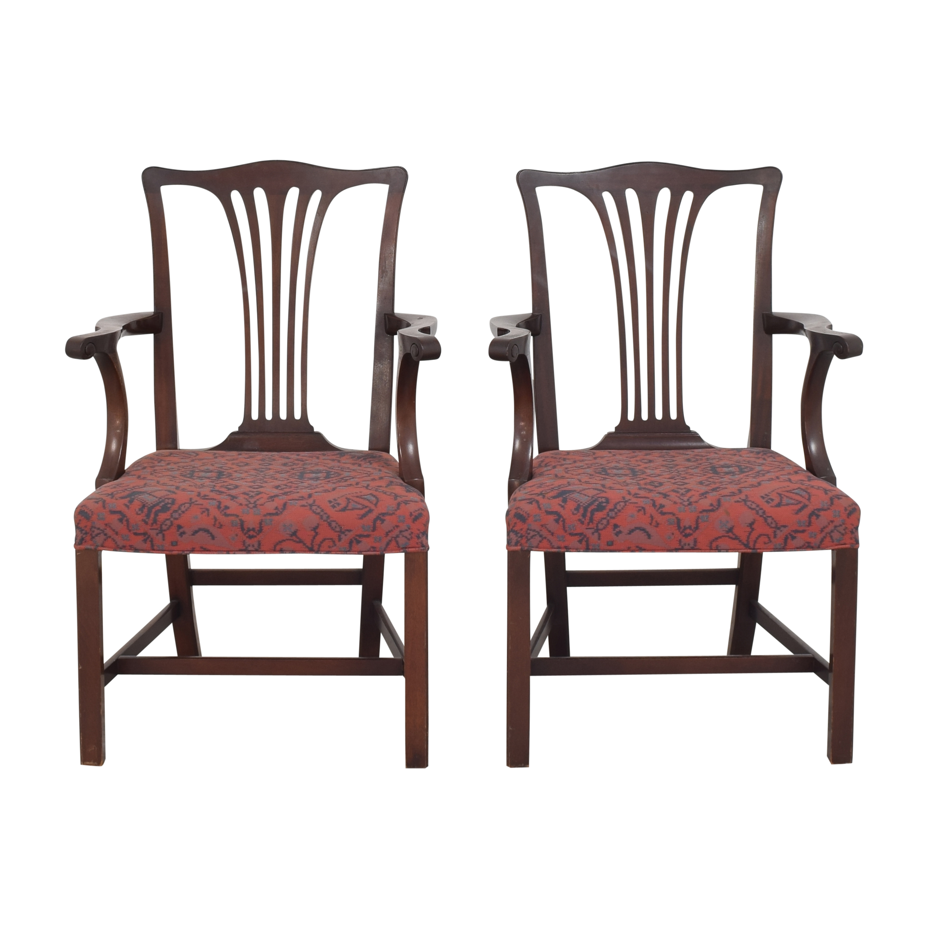 Wood & Hogan Wood & Hogan Country Chippendale Dining Arm Chairs Chairs