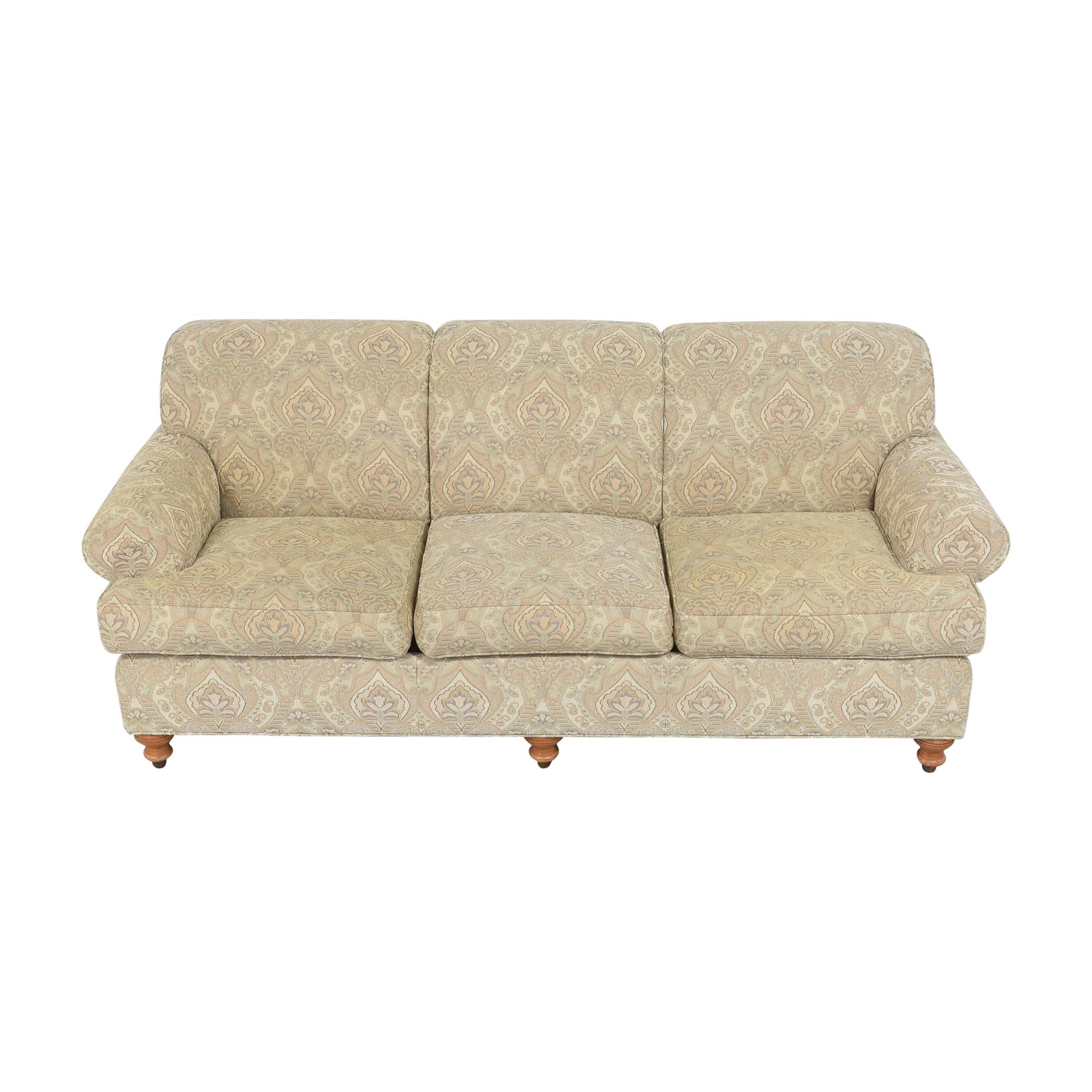 Ethan Allen Ethan Allen Patterned Roll Arm Sofa discount