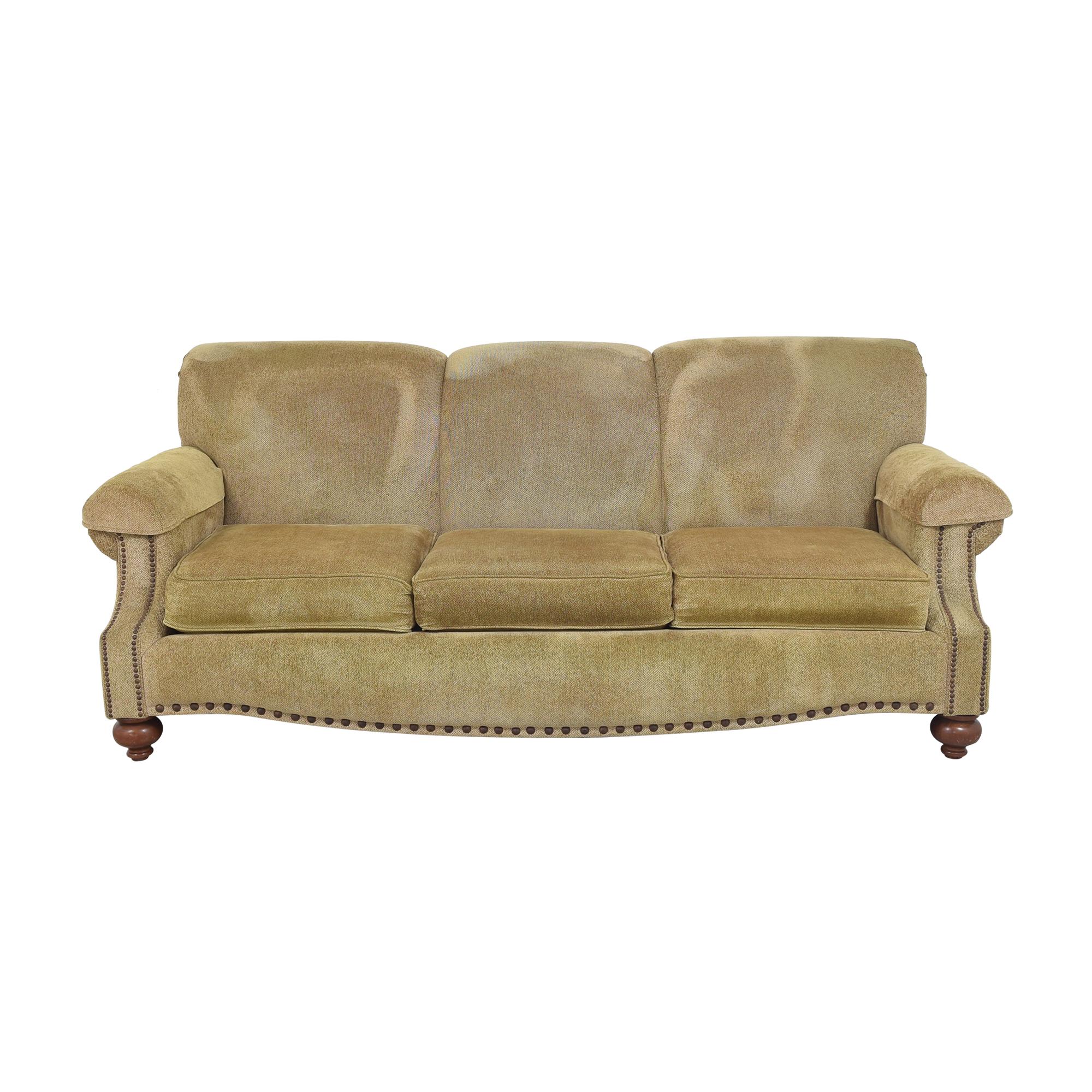 shop Bassett Furniture Three Cushion Nailhead Sofa Bassett Furniture Sofas