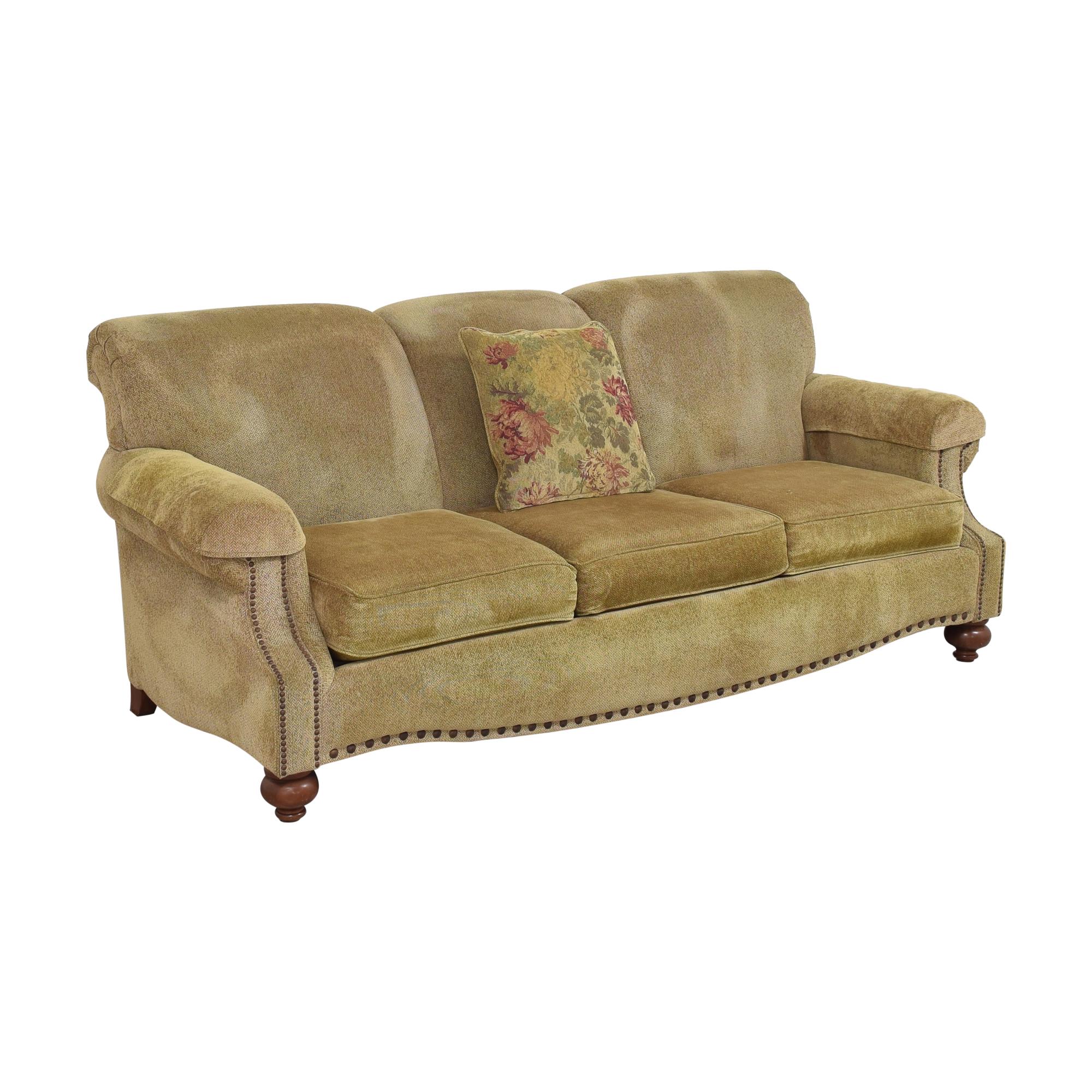 Bassett Furniture Three Cushion Nailhead Sofa sale