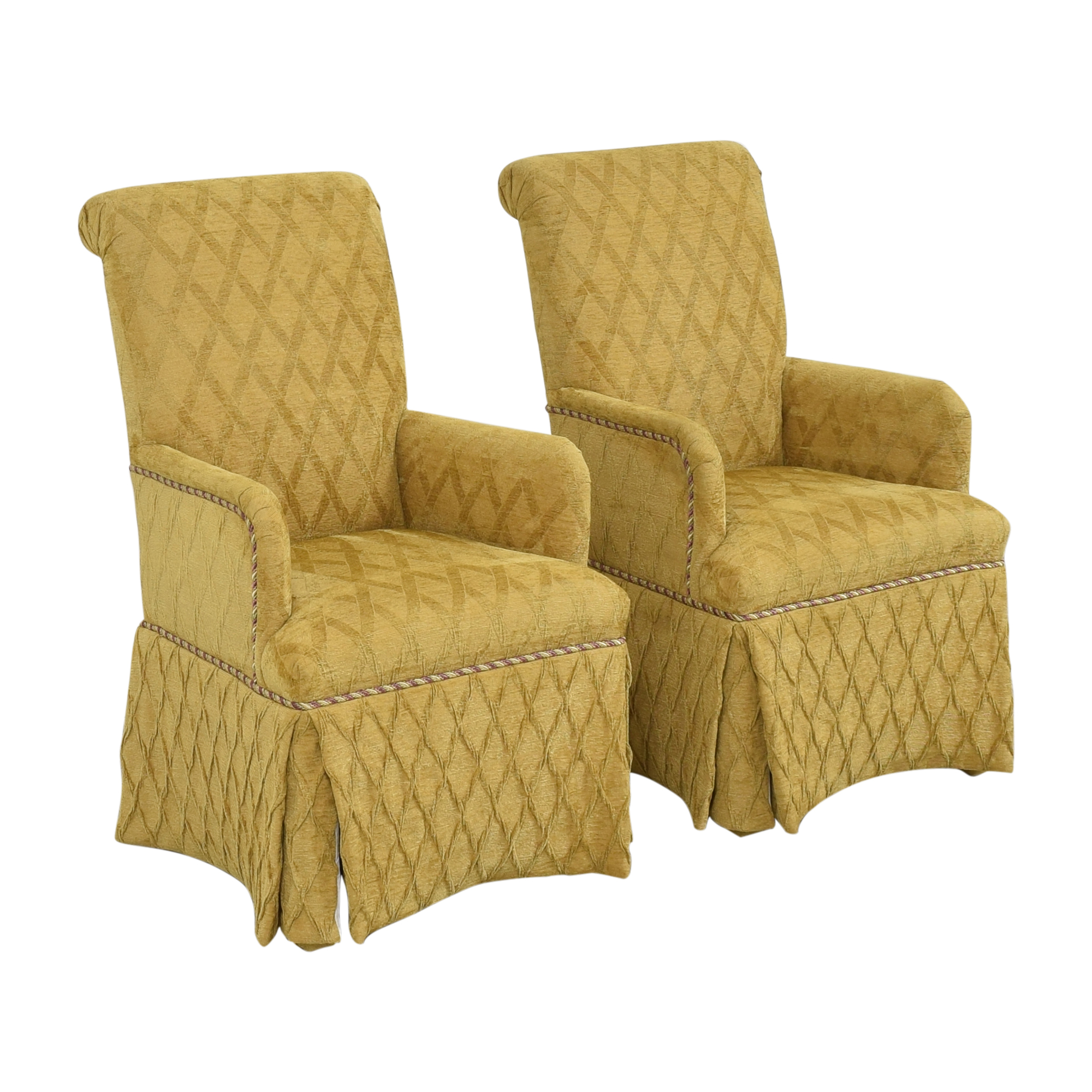 Charles Stewart Company Charles Stewart Company Skirted Dining Arm Chairs for sale
