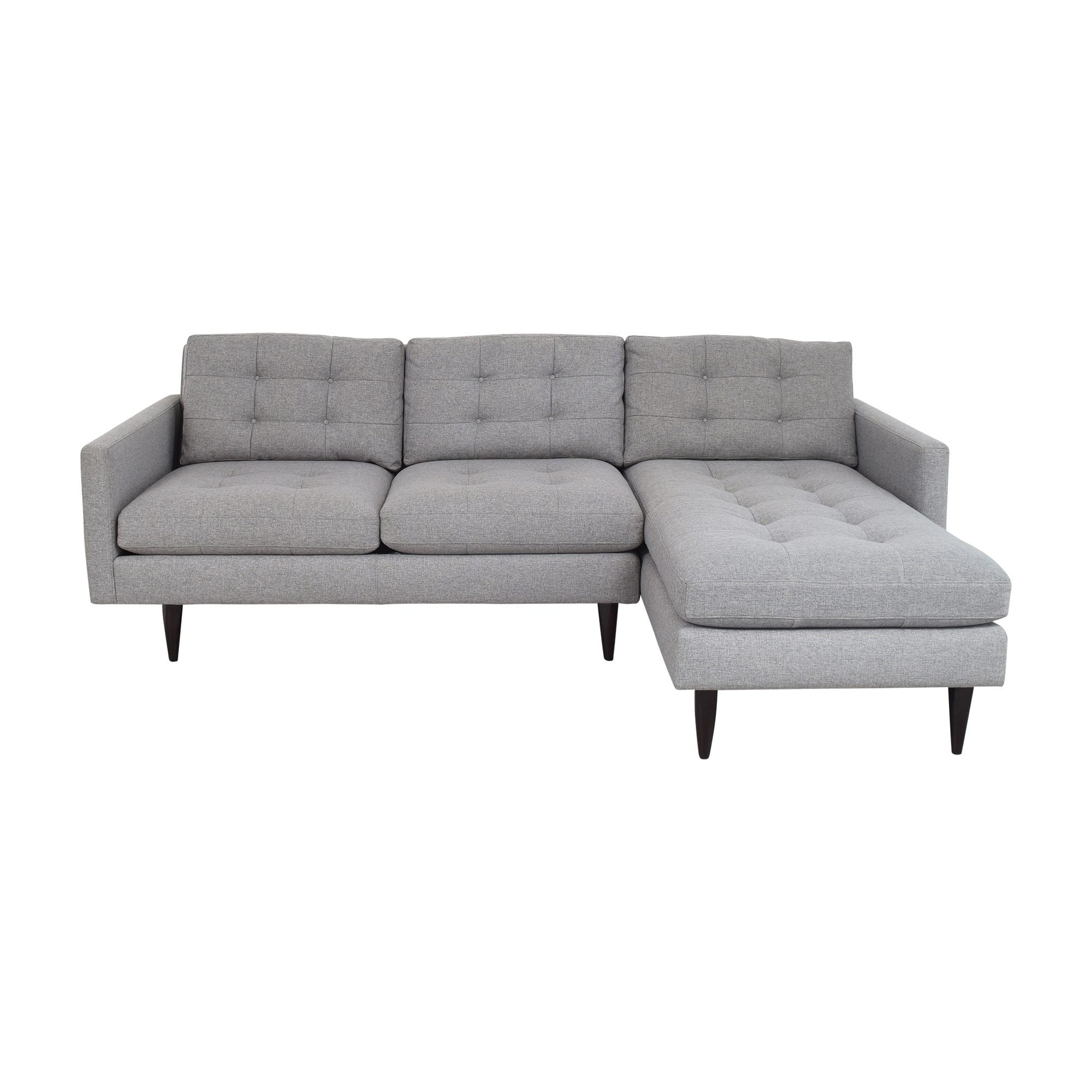 Crate & Barrel Crate & Barrel Petrie Two Piece Chaise Midcentury Sectional Sofa discount