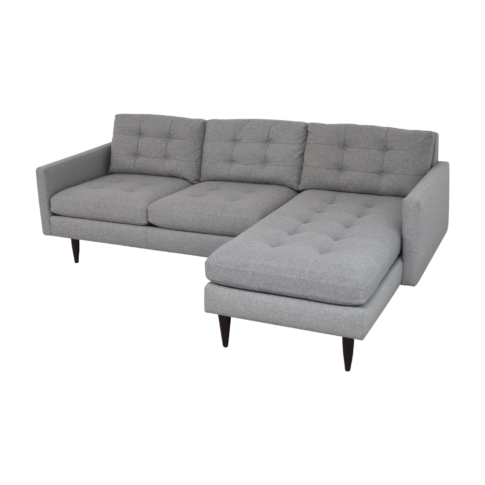 Crate & Barrel Crate & Barrel Petrie Two Piece Chaise Midcentury Sectional Sofa dimensions