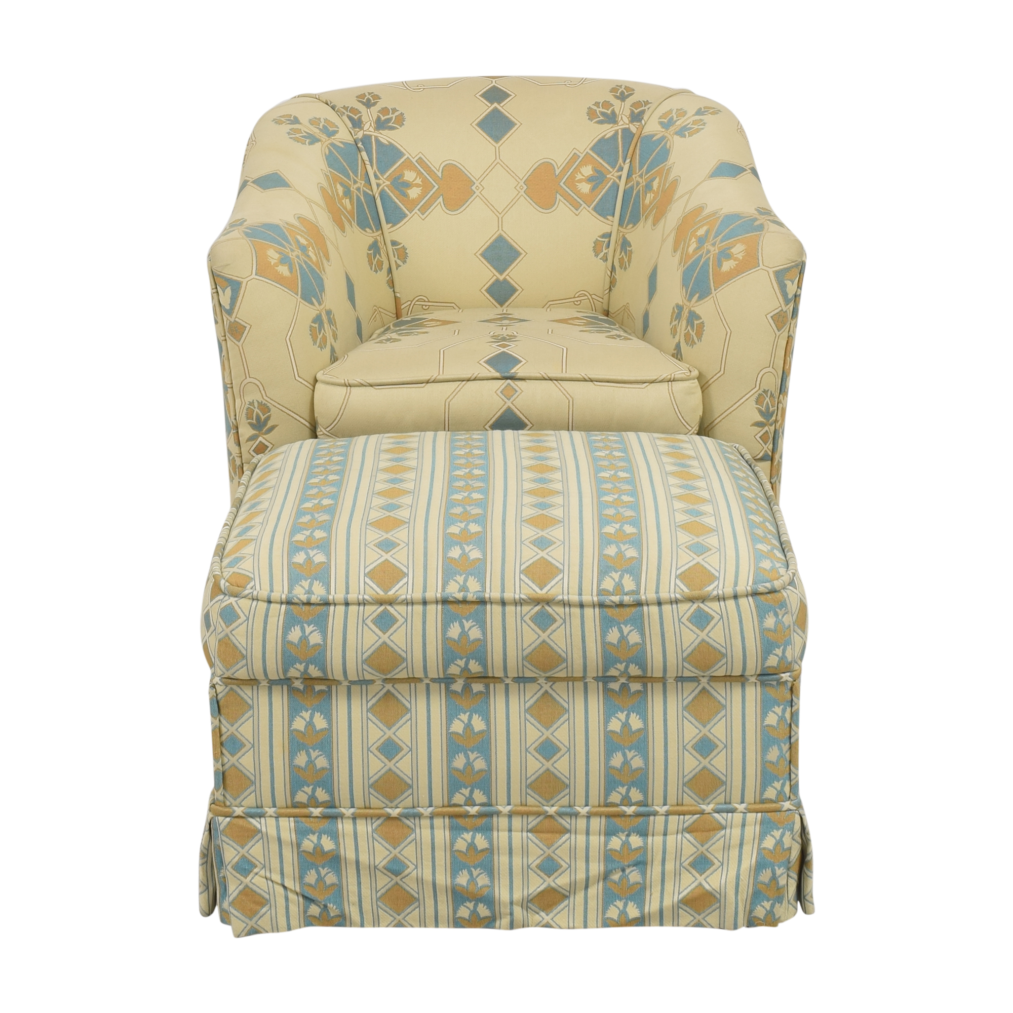 buy Custom Skirted Accent Chair with Ottoman