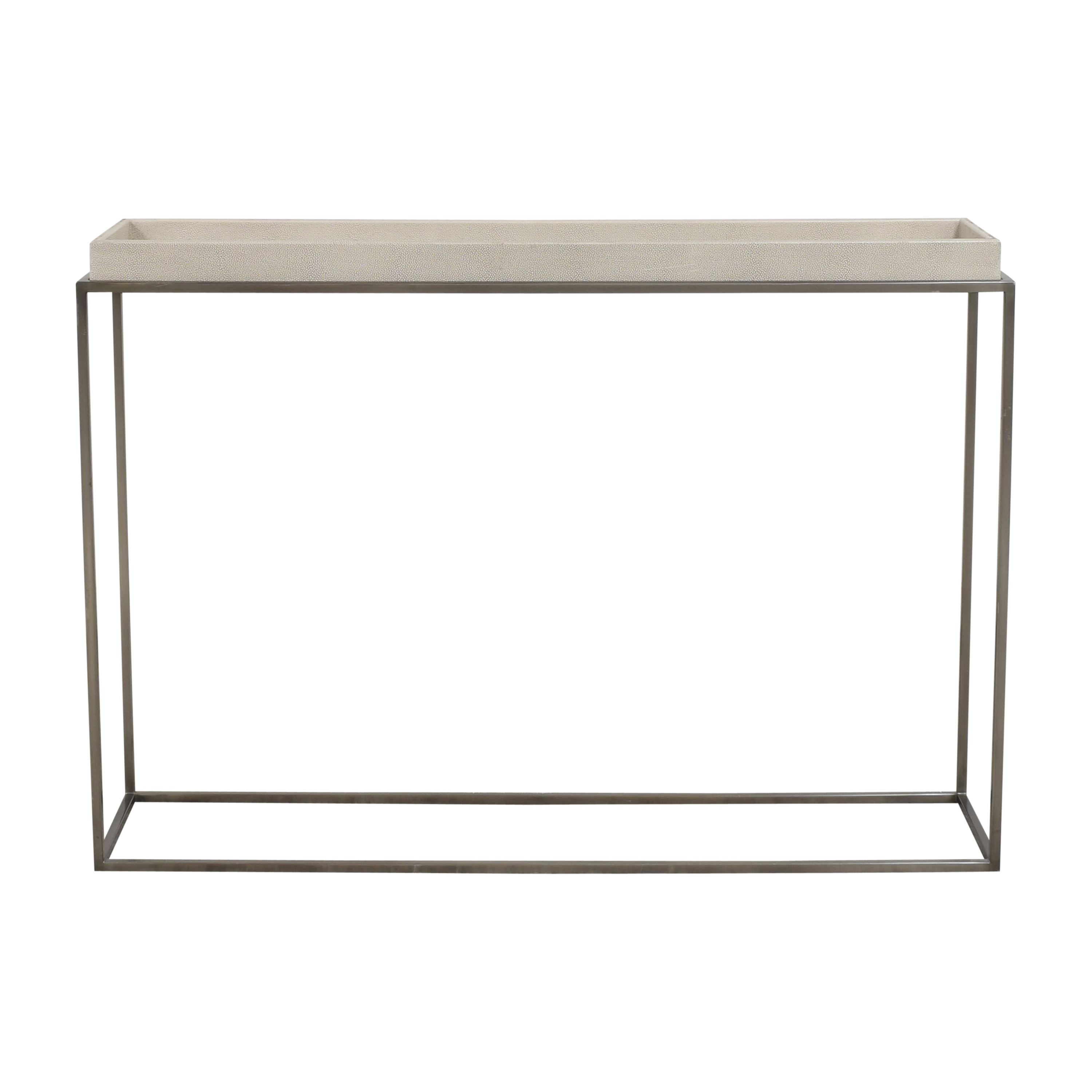 Restoration Hardware Restoration Hardware Hudson Shagreen Tray Console Table beige and silver
