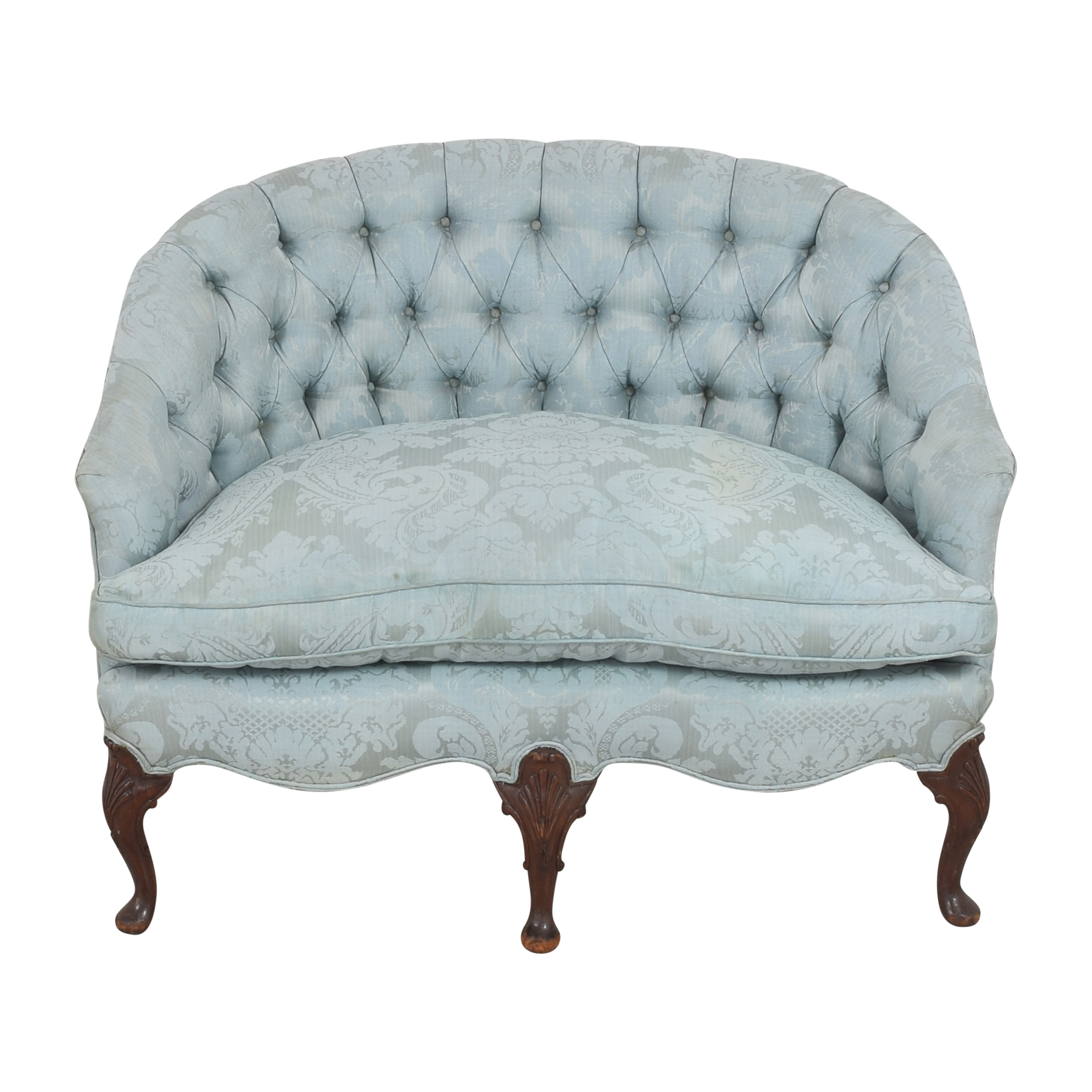 Damask Tufted Settee for sale