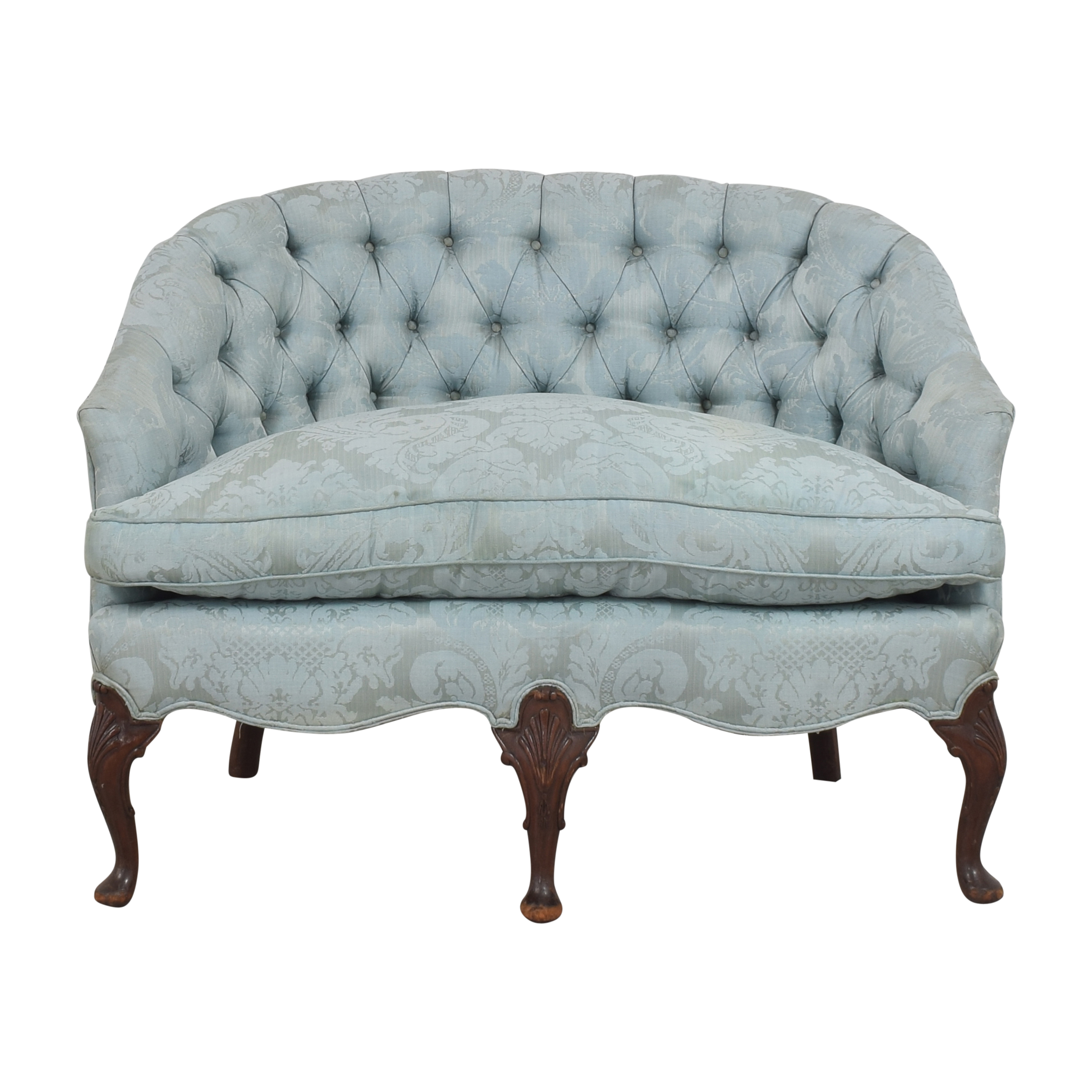 Damask Tufted Settee dimensions