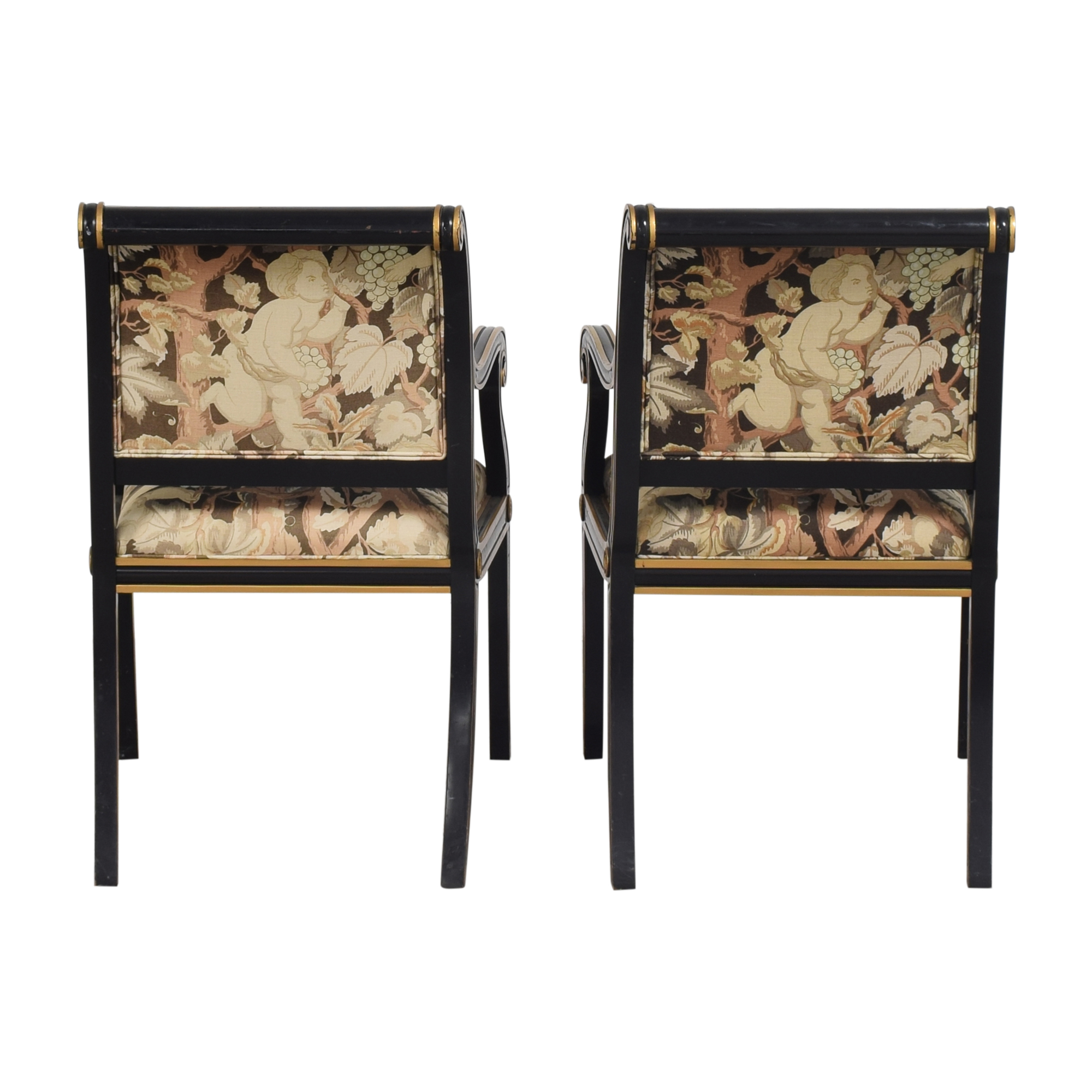 Councill Councill Floral Scroll Dining Arm Chairs nj
