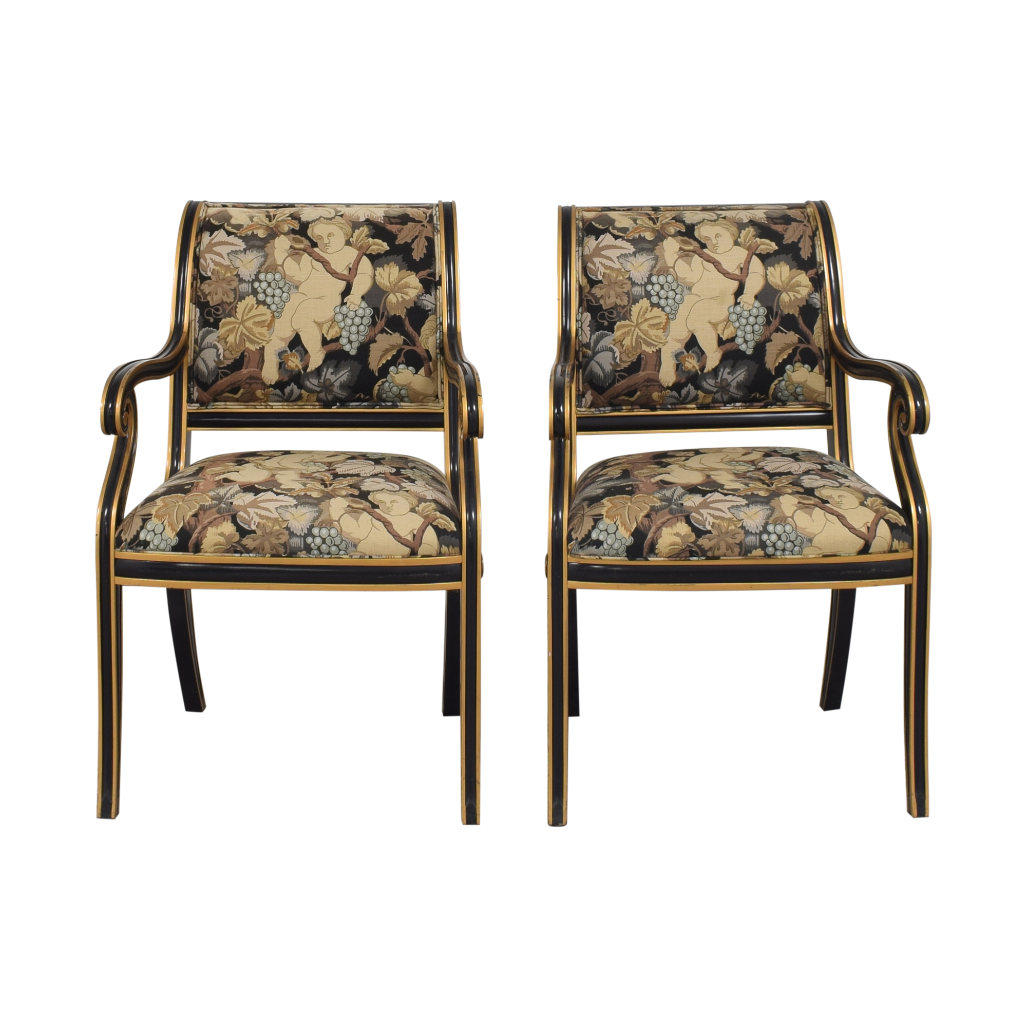 Councill Councill Floral Scroll Dining Arm Chairs nyc