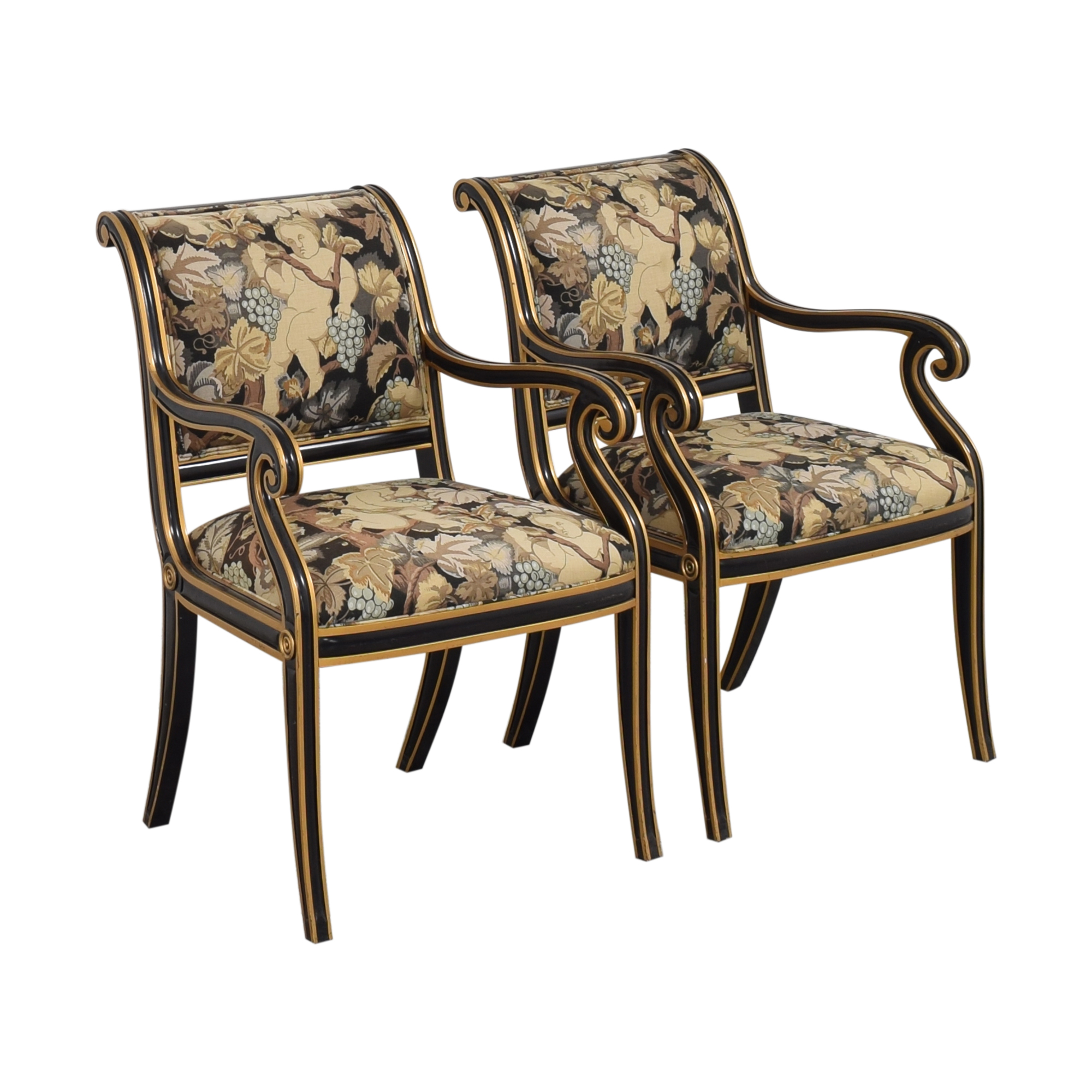 Councill Councill Floral Scroll Dining Arm Chairs ct