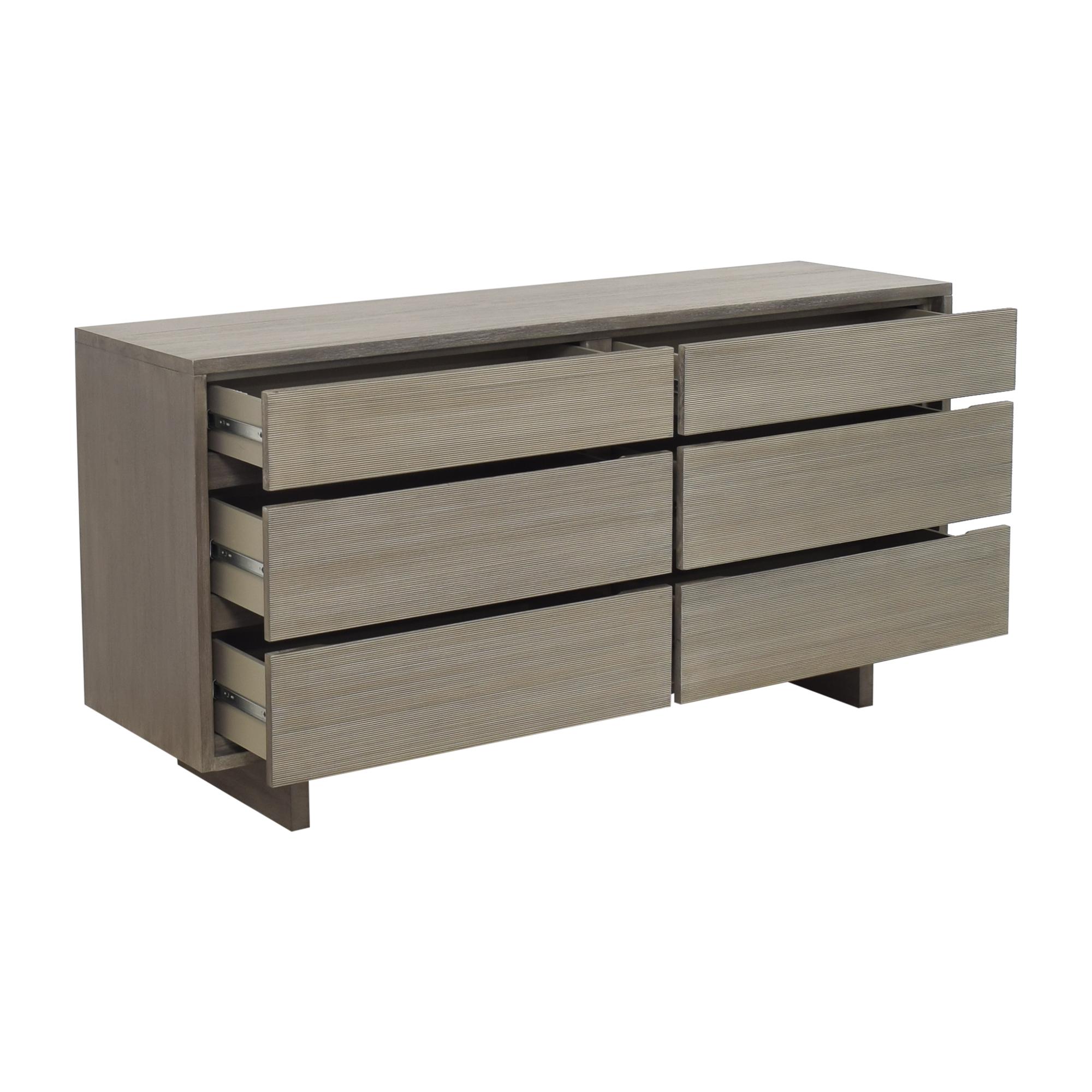 West Elm West Elm Arbor Textured Six Drawer Dresser grey