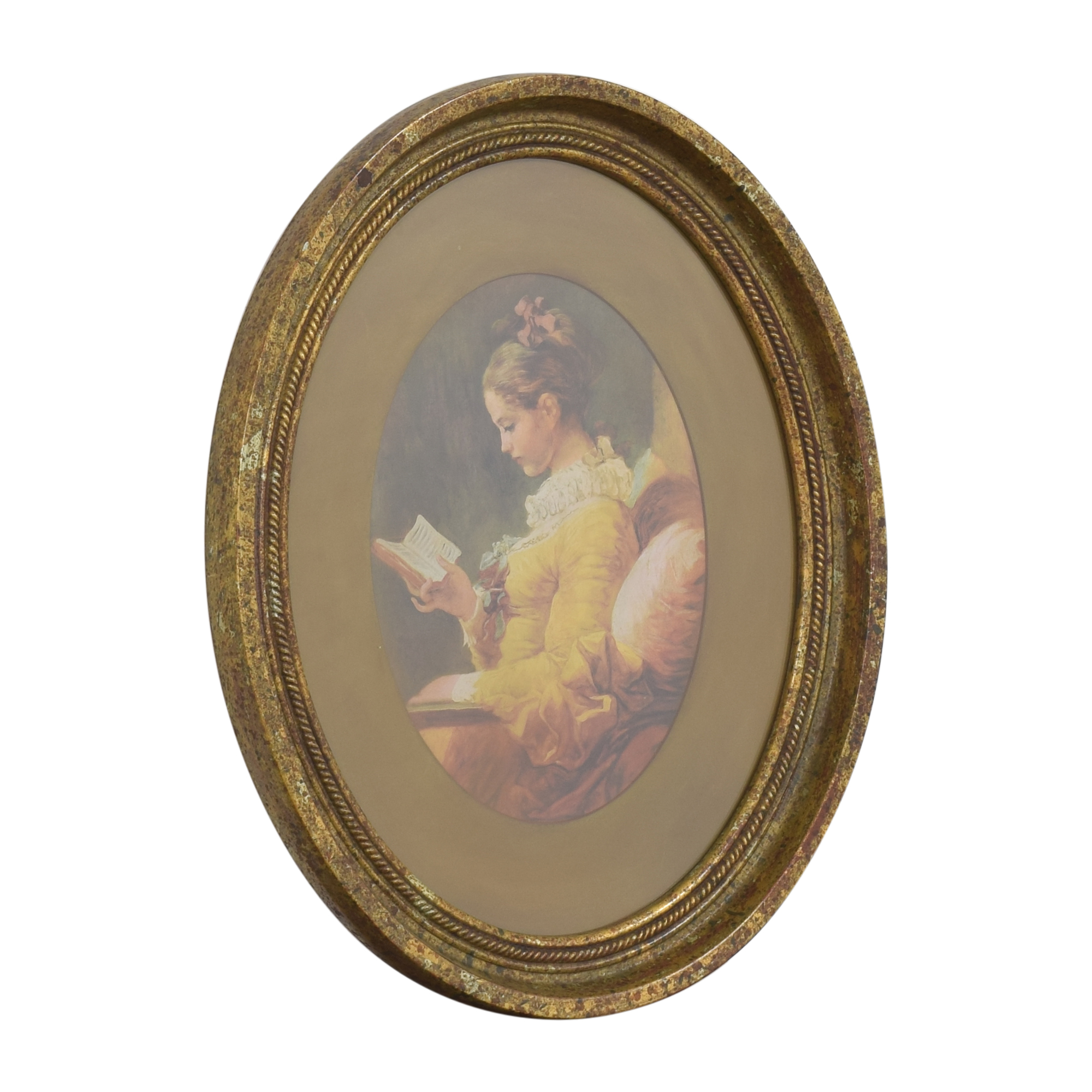 Fragonard Girl Reading Oval Framed Wall Art on sale