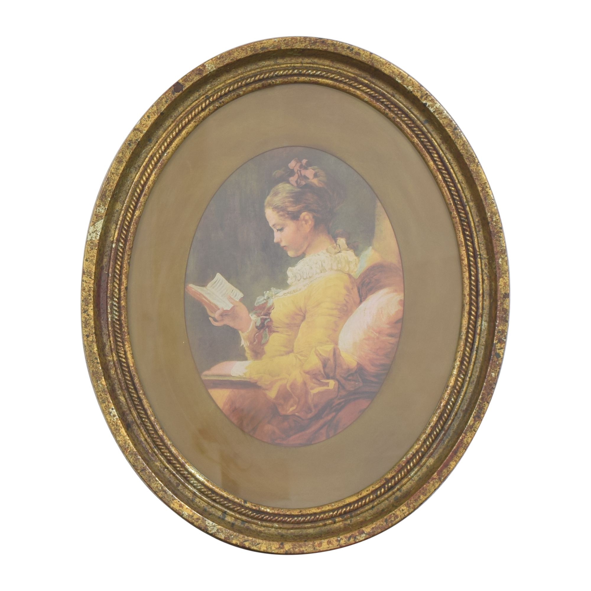 shop Fragonard Girl Reading Oval Framed Wall Art