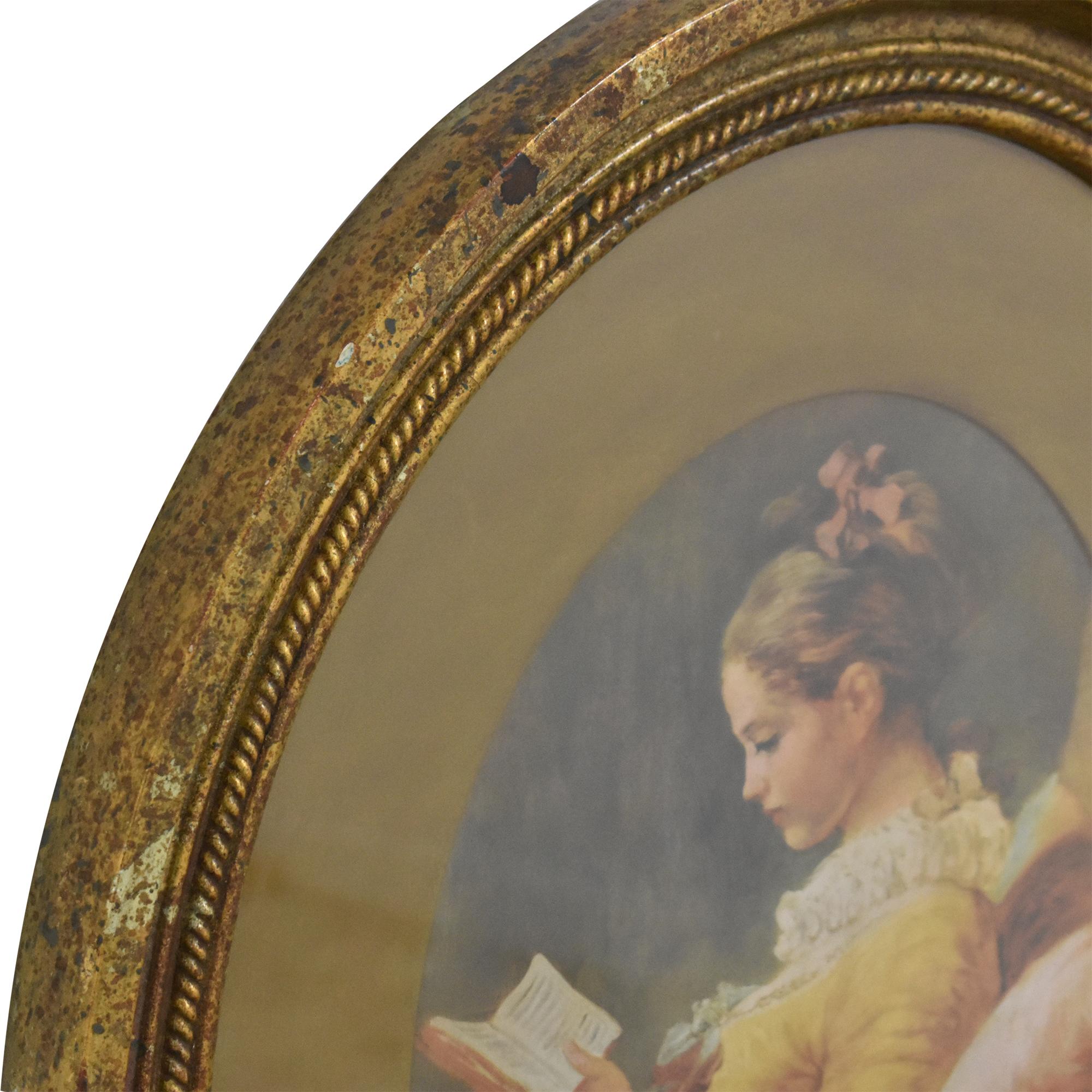 shop Fragonard Girl Reading Oval Framed Wall Art